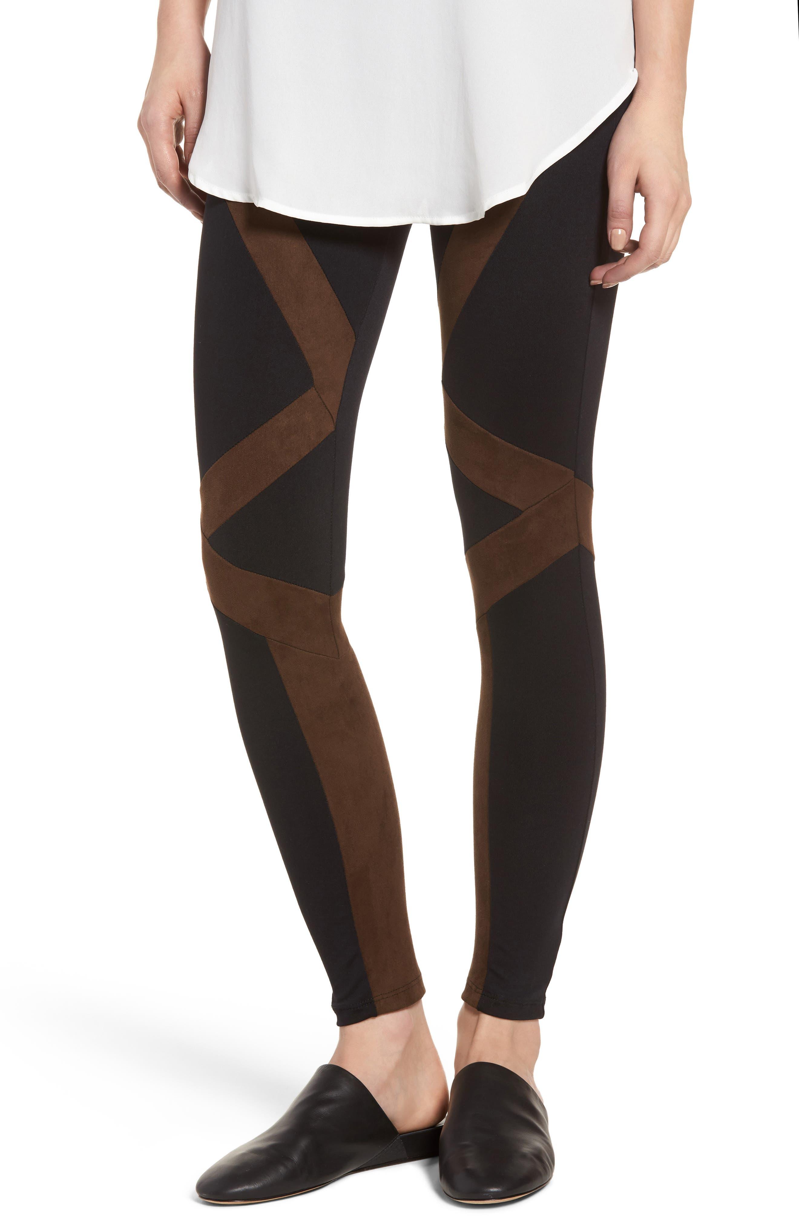 Seamed Leggings,                         Main,                         color, Black/ Coffee