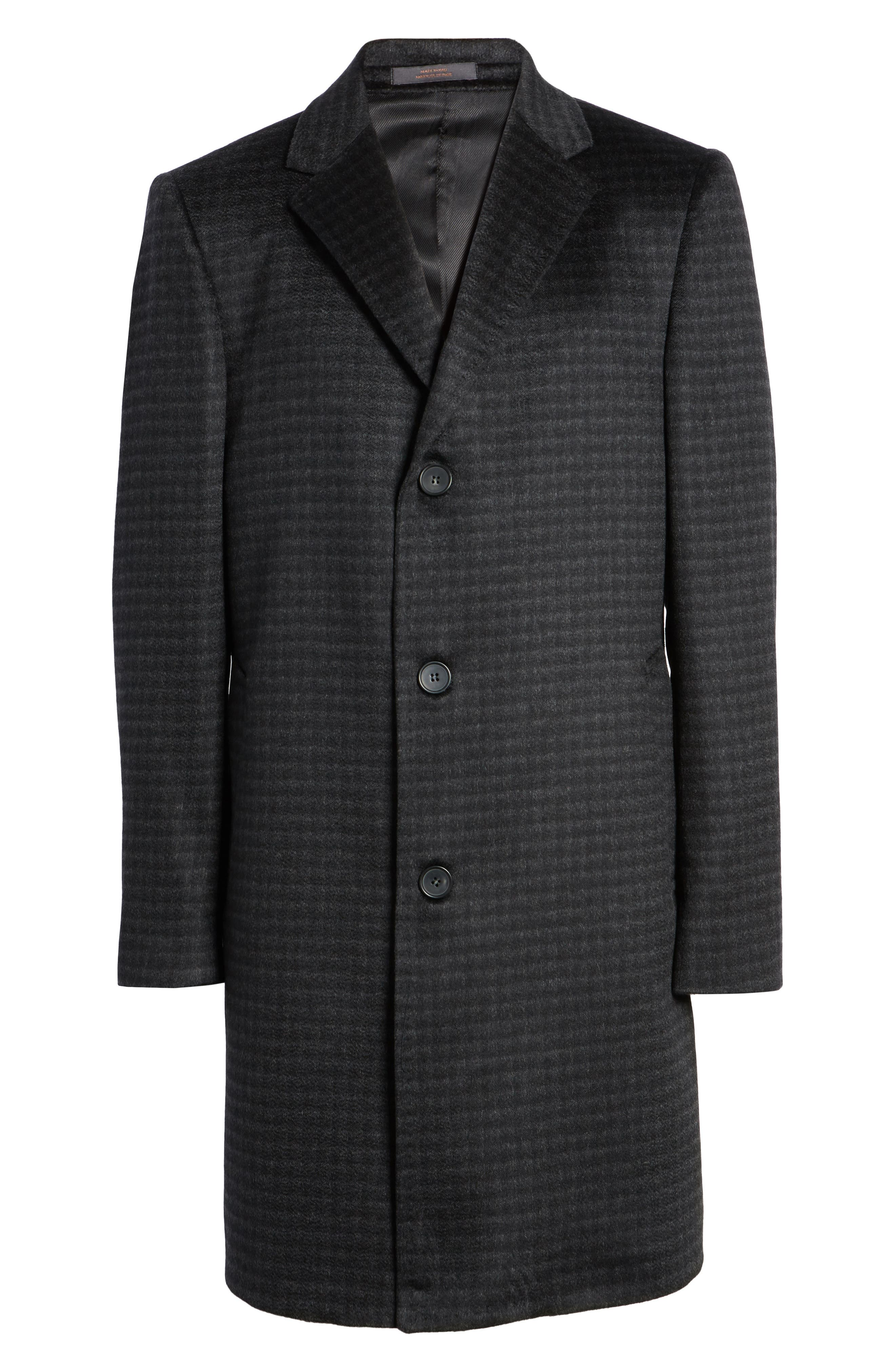 Cameron Check Cashmere Overcoat,                             Alternate thumbnail 6, color,                             Charcoal