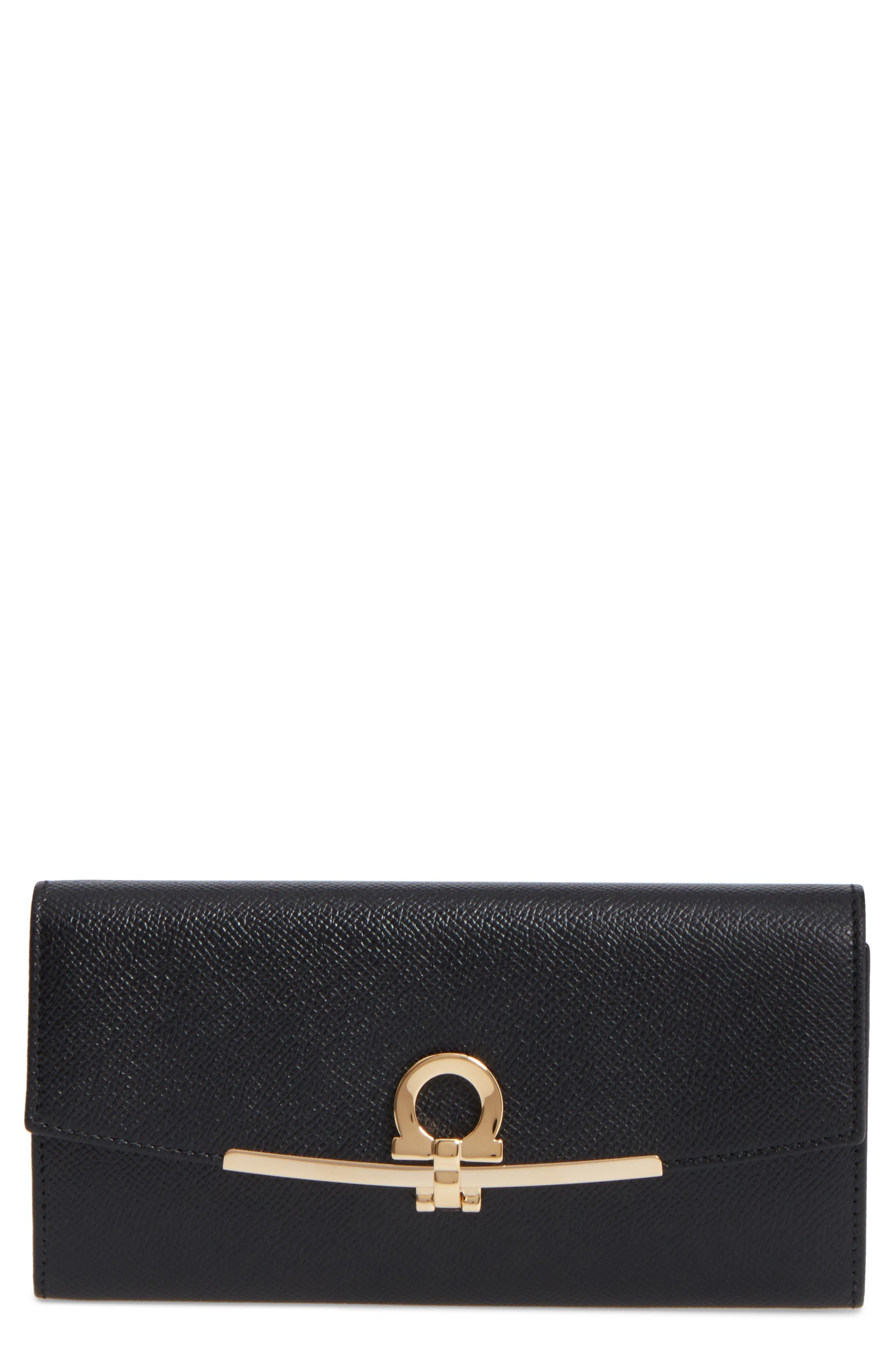 Bar Saffiano Calfskin Wallet,                         Main,                         color, Nero