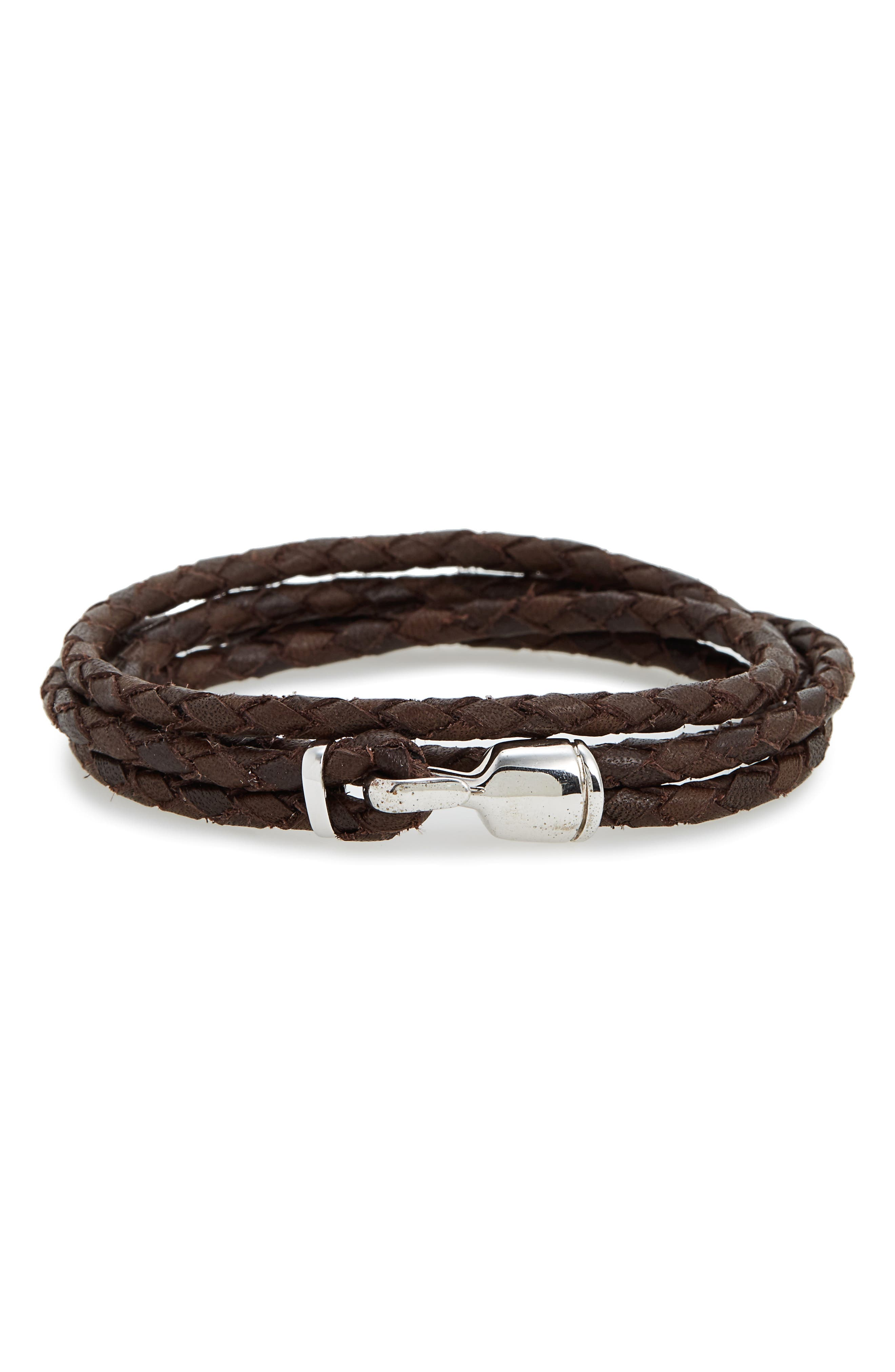 Trice Braided Leather & Sterling Silver Bracelet,                         Main,                         color, Brown
