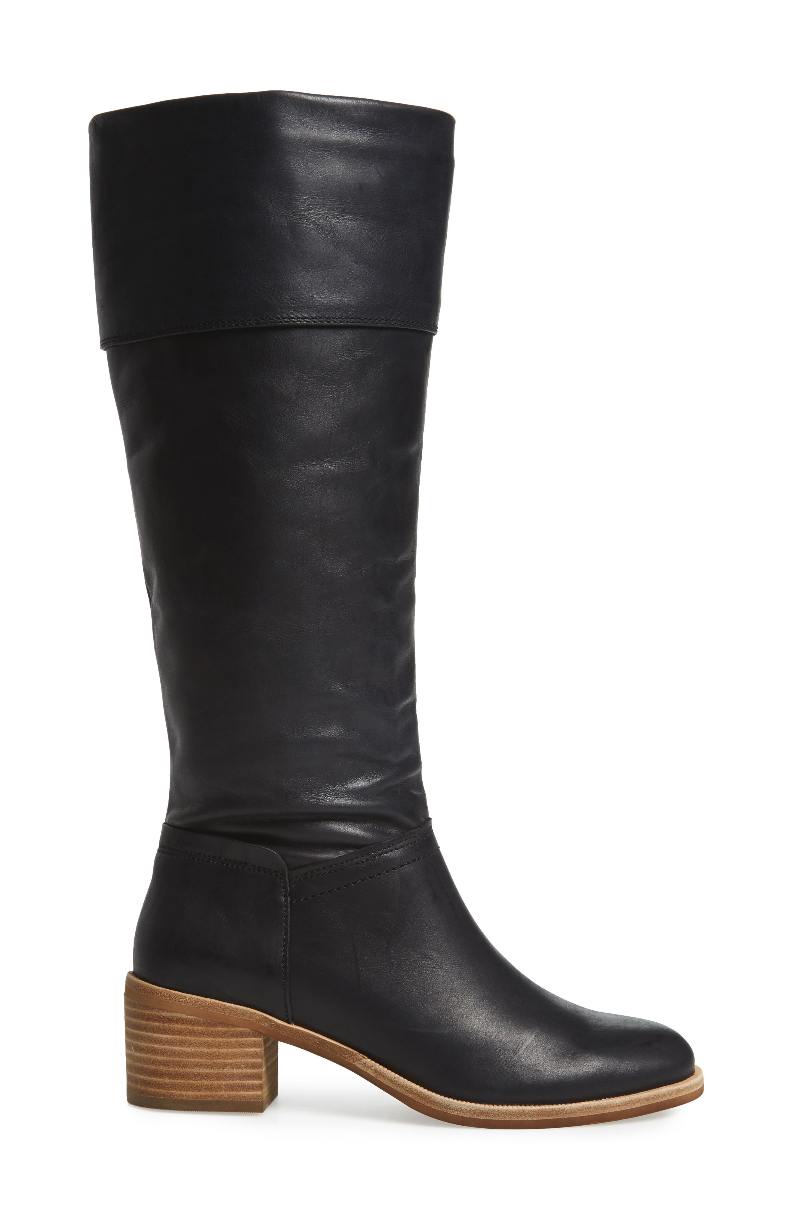 Carlin Tall Boot,                             Alternate thumbnail 3, color,                             Black Leather