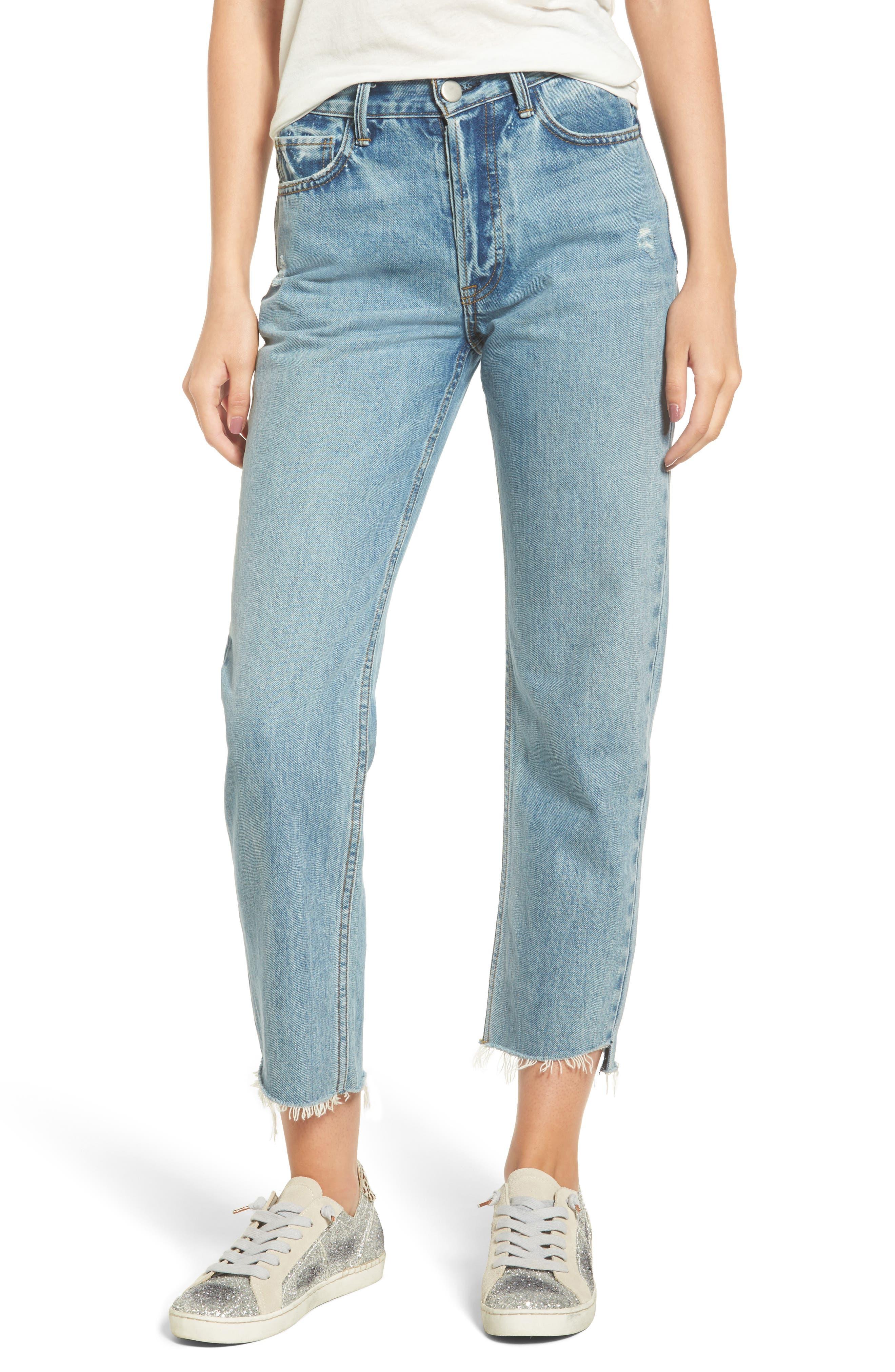 EVIDNT Raw Step Hem Straight Leg Jeans