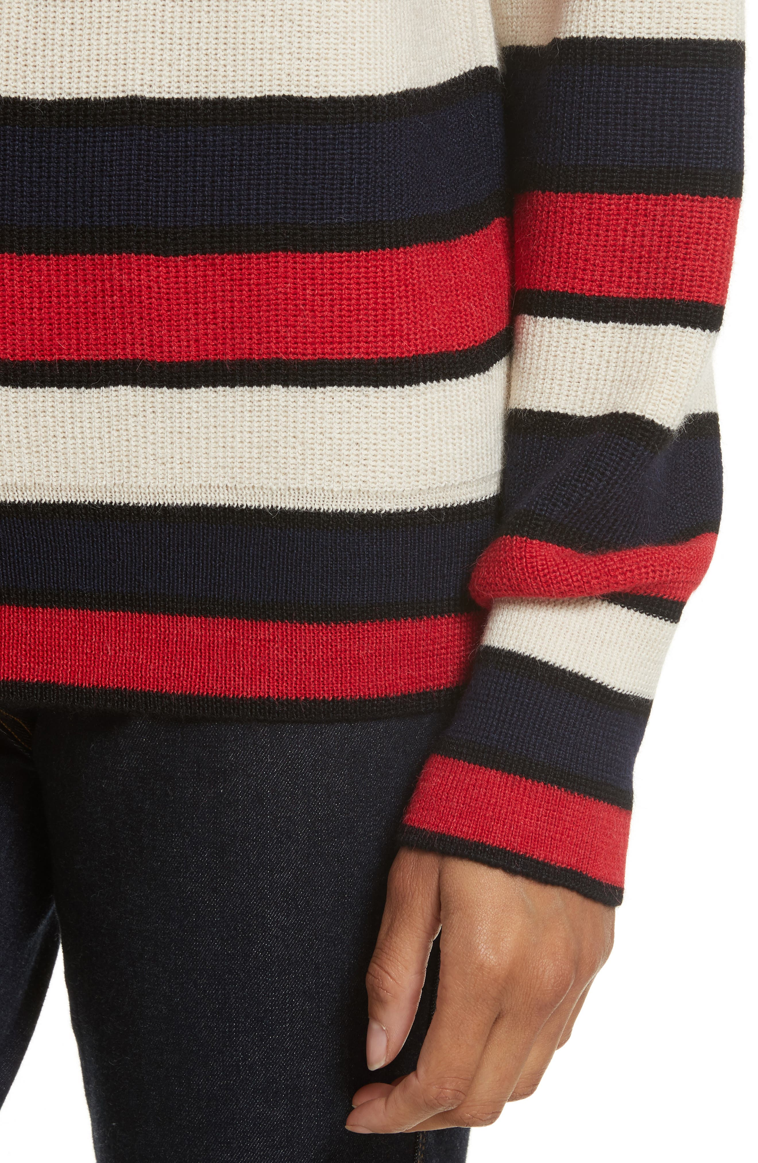 Austrie Stripe Alpaca Sweater,                             Alternate thumbnail 4, color,                             Red/ Ivory/ Navy