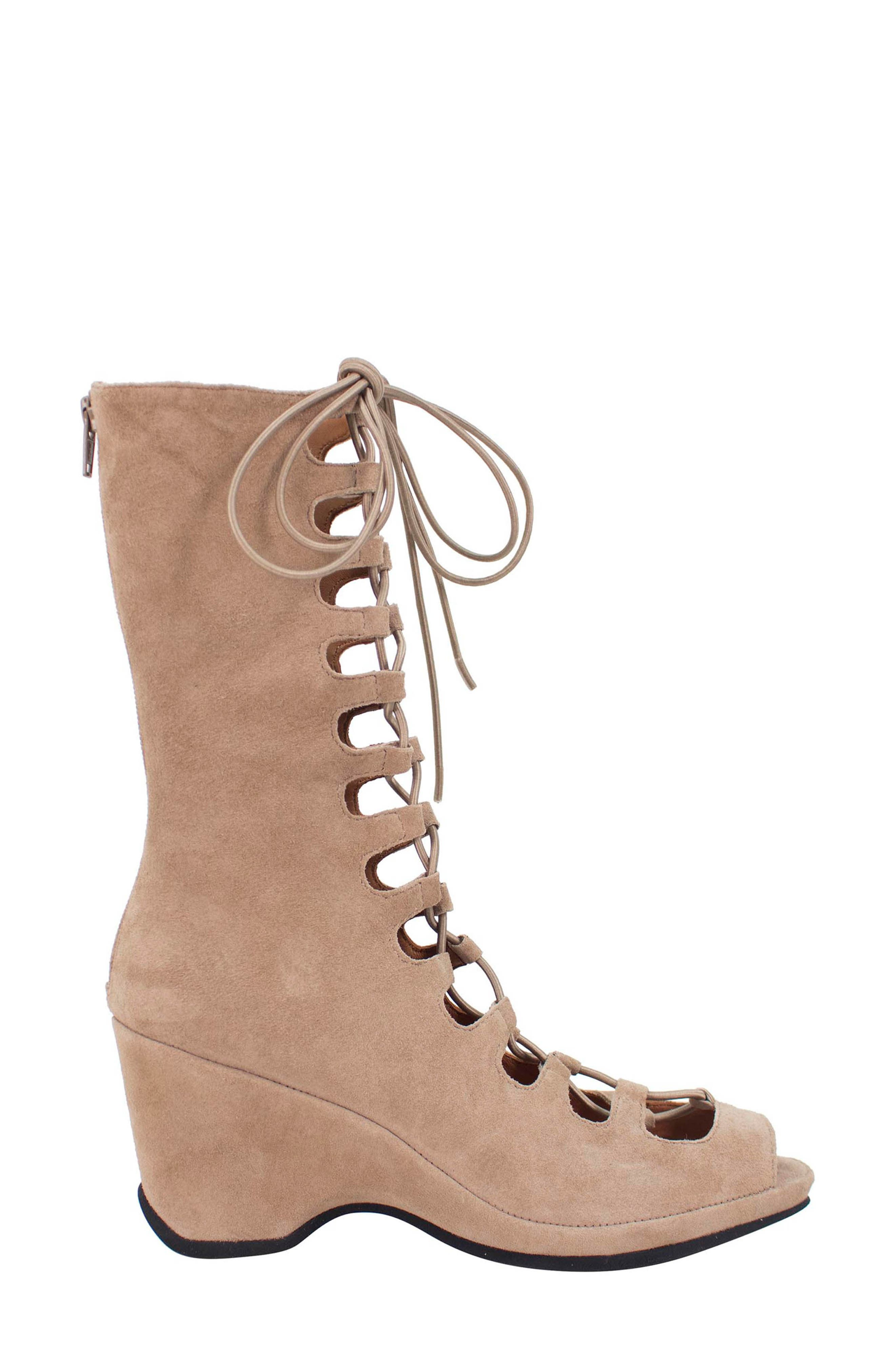 Othello Lace-Up Sandal,                             Alternate thumbnail 3, color,                             Taupe Suede
