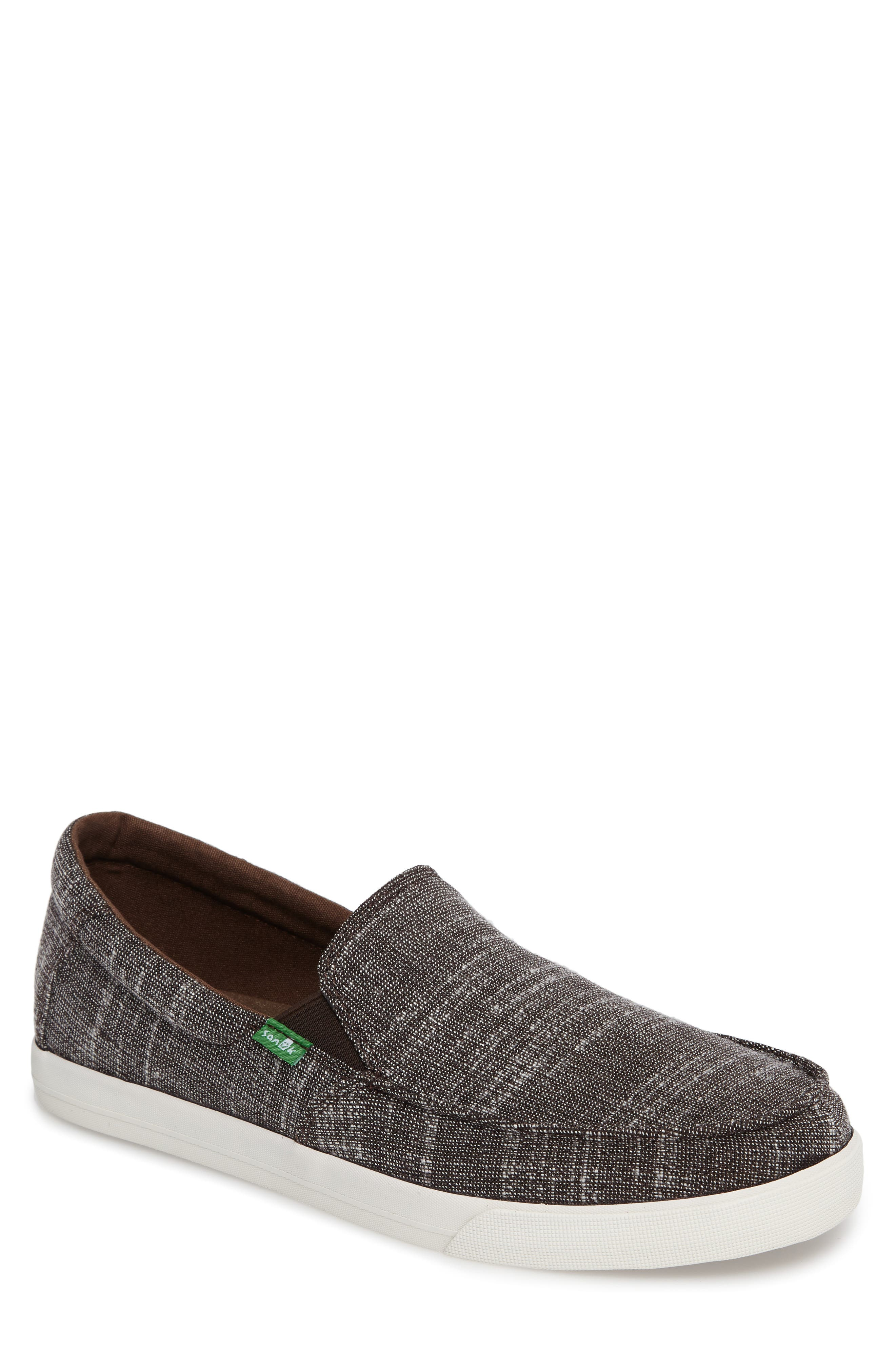 'Sideline' Linen Slip-On,                         Main,                         color, Brown