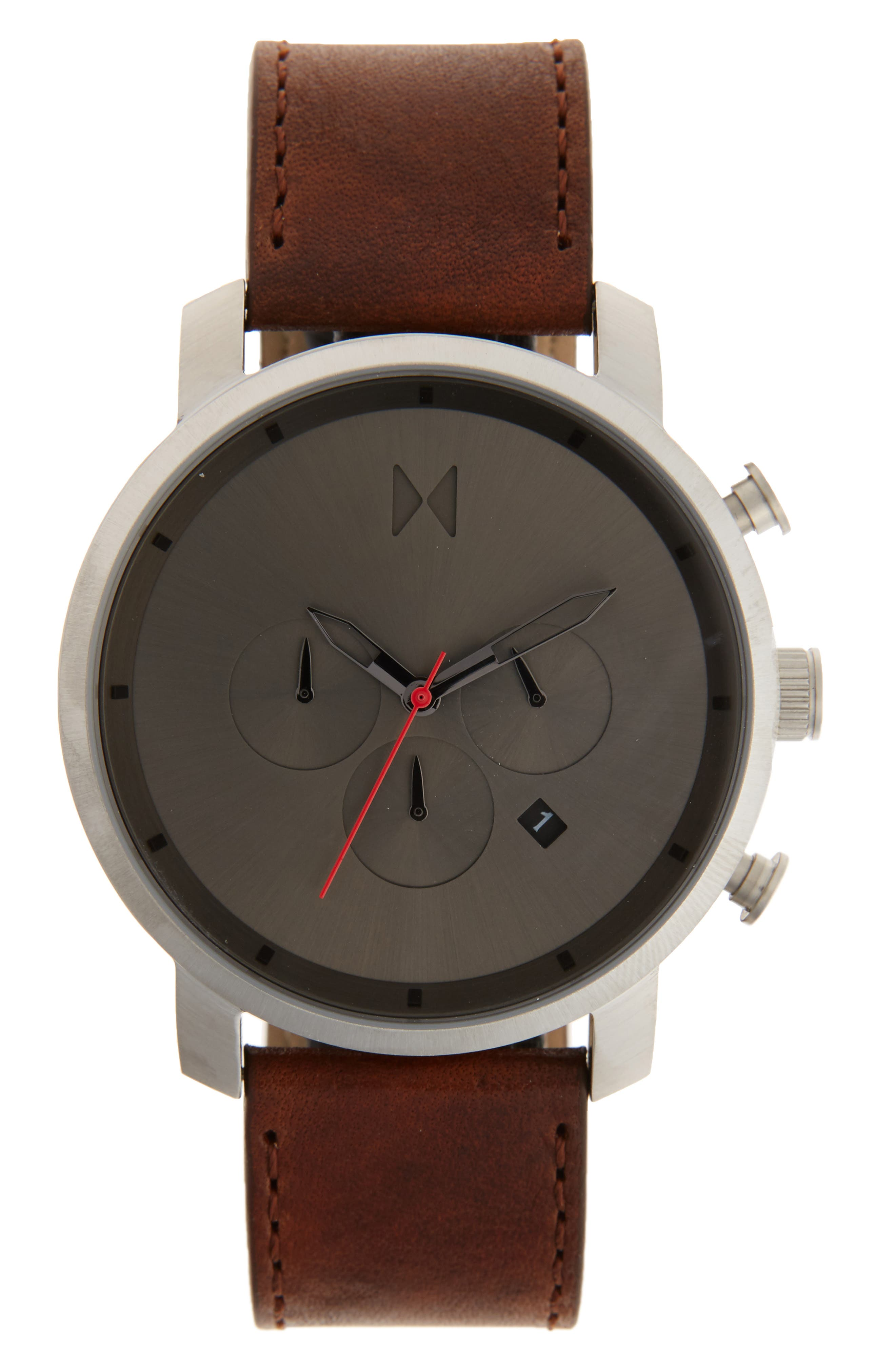 Chronograph Leather Strap Watch, 45mm,                         Main,                         color, Charcoal/ Natural