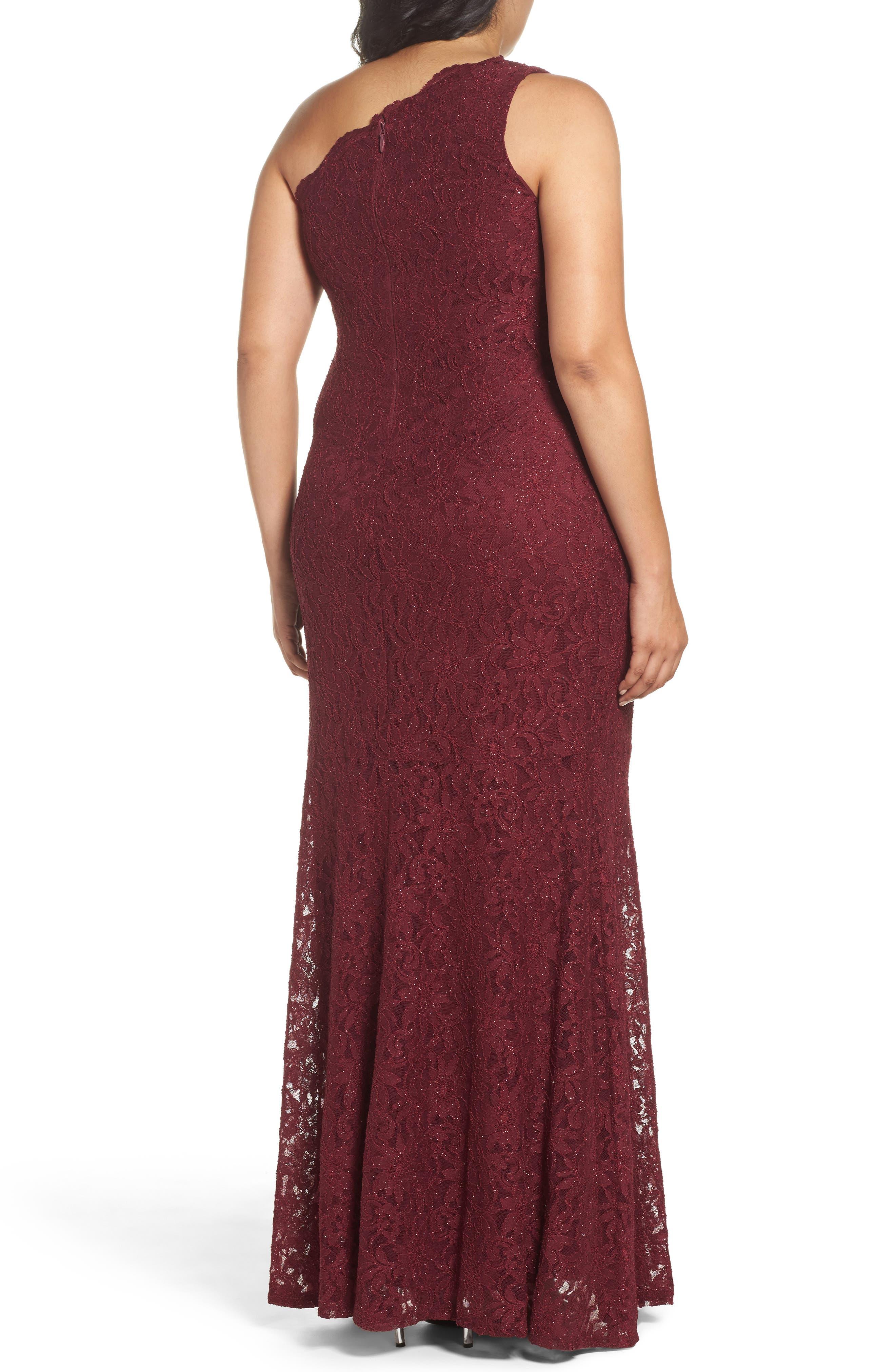 One Shoulder Glitter Lace Gown,                             Alternate thumbnail 2, color,                             Merlot