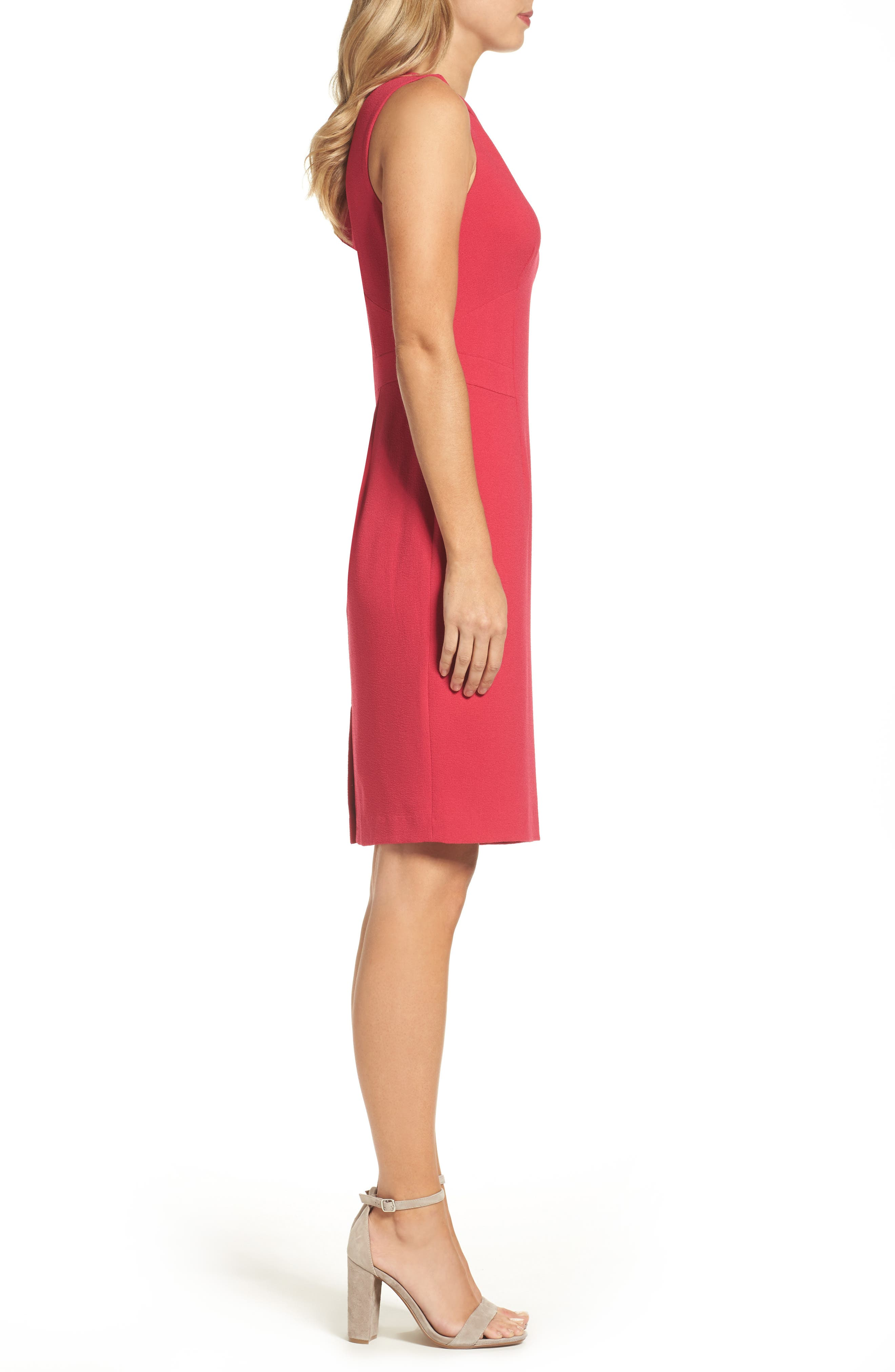 Seamed Sheath Dress,                             Alternate thumbnail 3, color,                             Strawberry