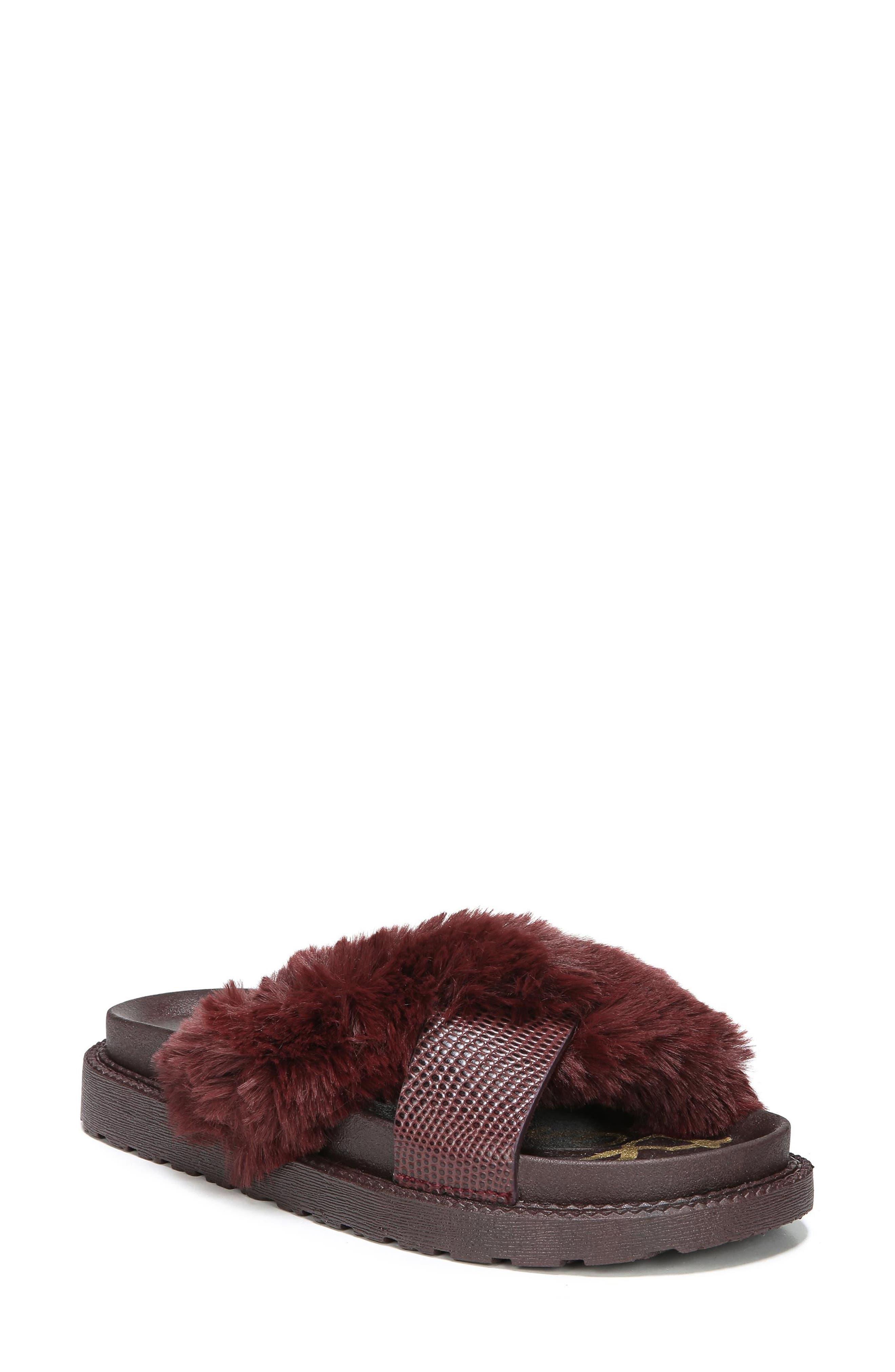 Main Image - Sam Edelman Bianca Faux Fur Cross Strap Sandal (Women)