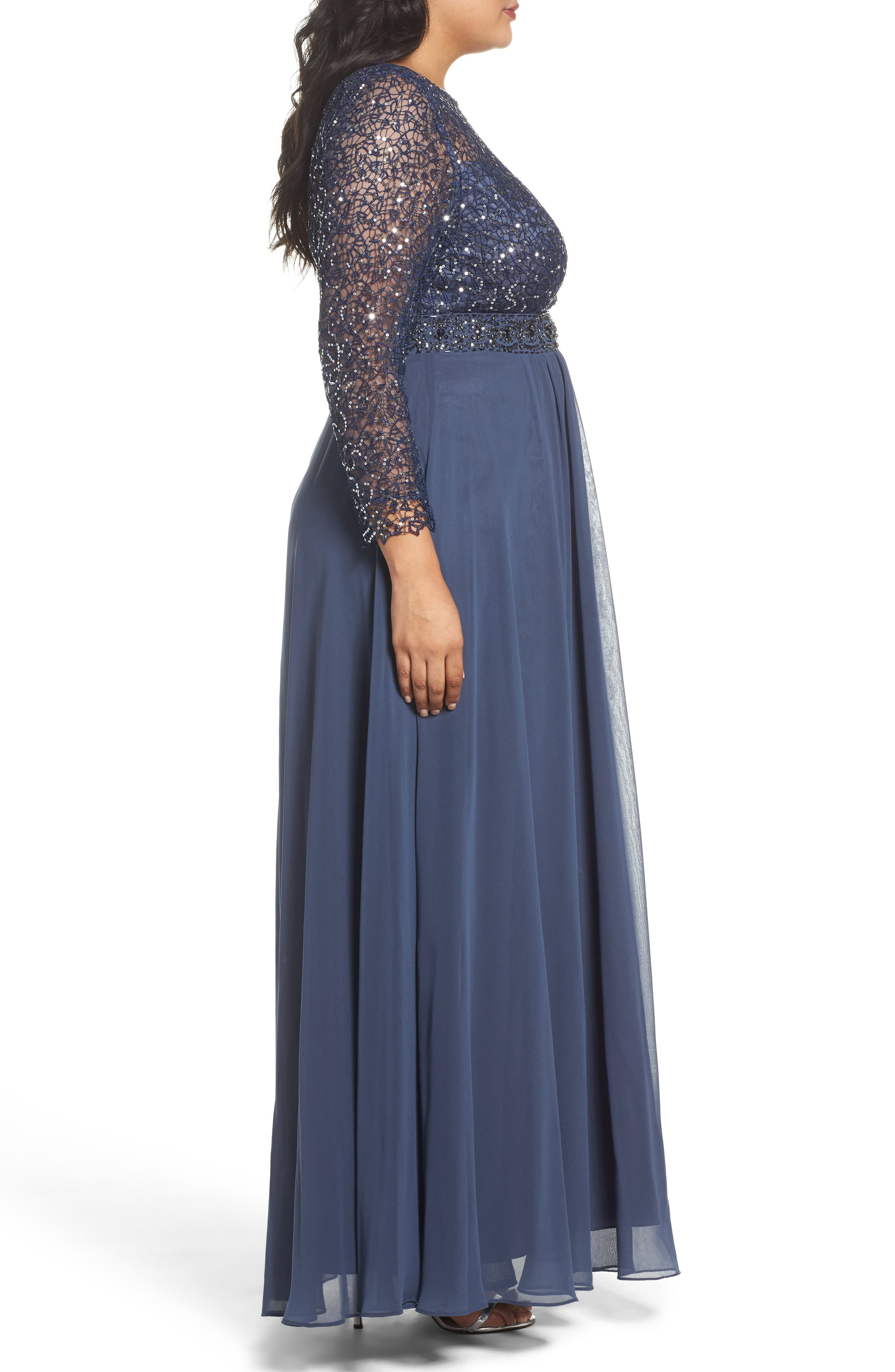 Embellished A-Line Chiffon Gown,                             Alternate thumbnail 3, color,                             Steel