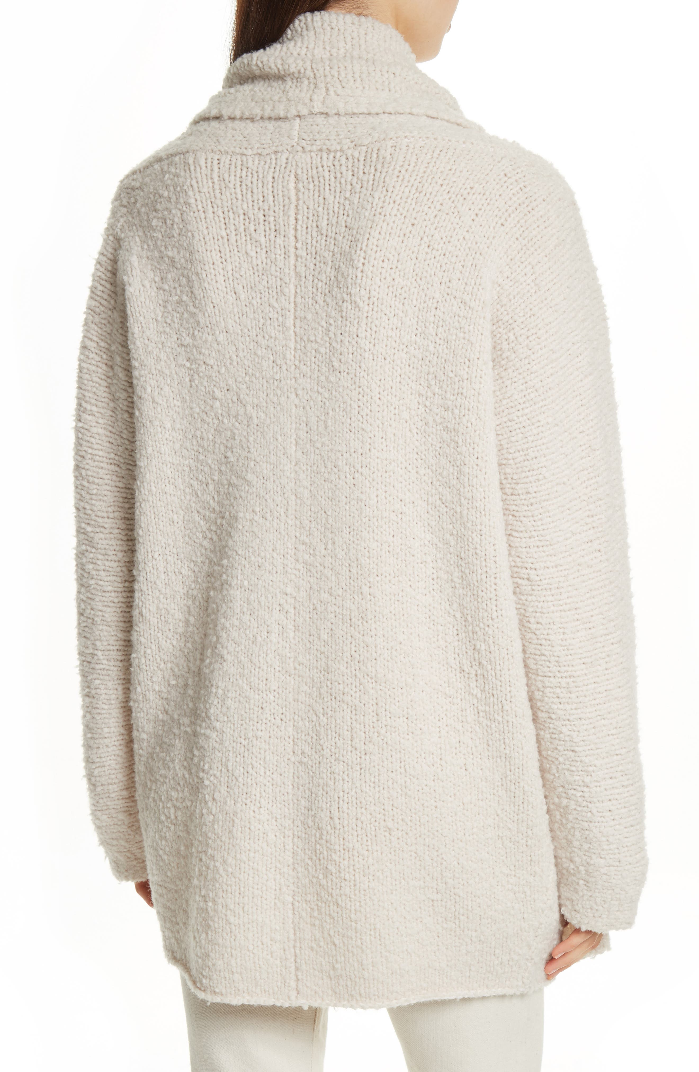 Drape Front Wool Knit Cardigan,                             Alternate thumbnail 2, color,                             Off White