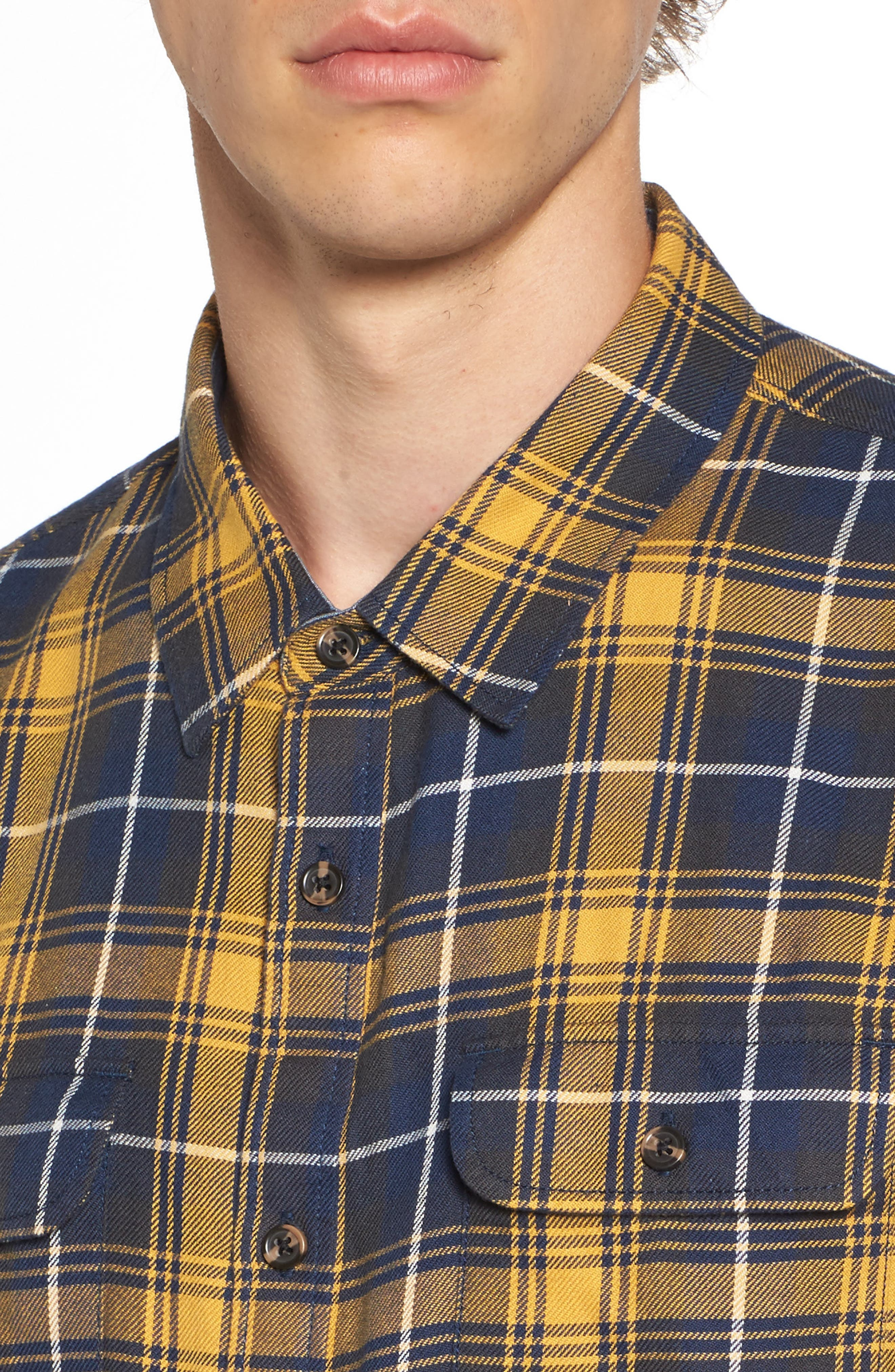 Sycamore Plaid Flannel Sport Shirt,                             Alternate thumbnail 4, color,                             Mineral Yellow/ Dress Blues
