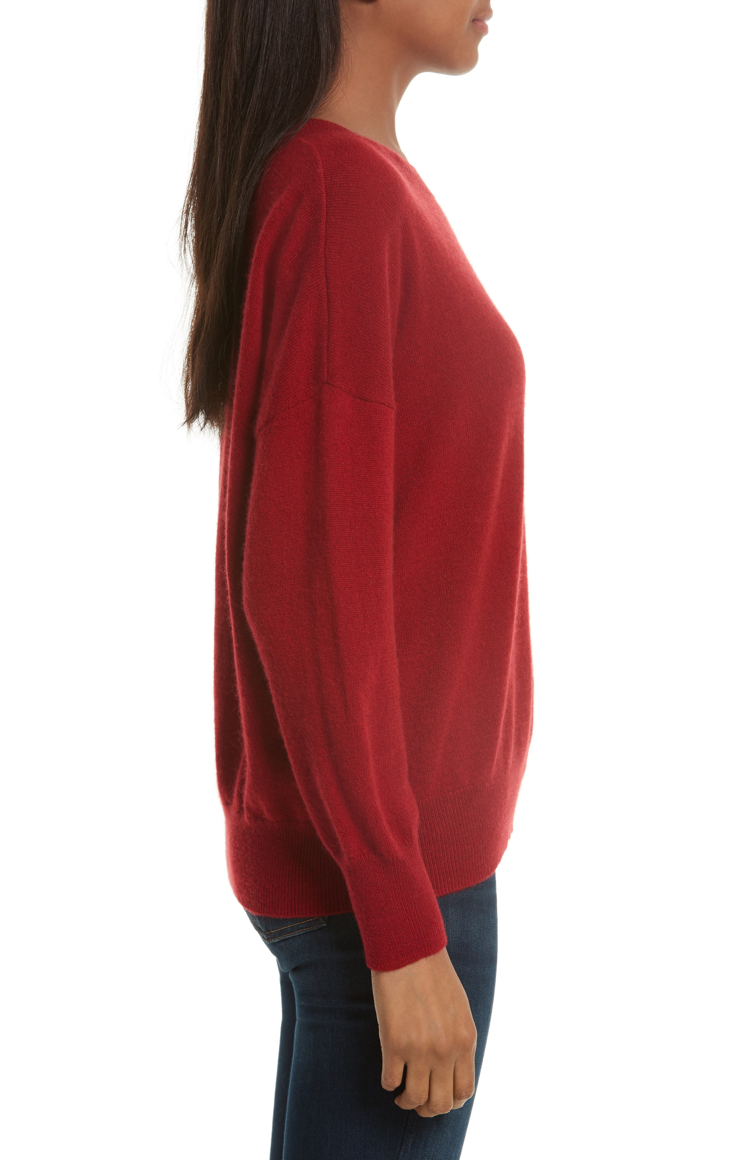 Melanie Cashmere Sweater,                             Alternate thumbnail 3, color,                             Rhubarb
