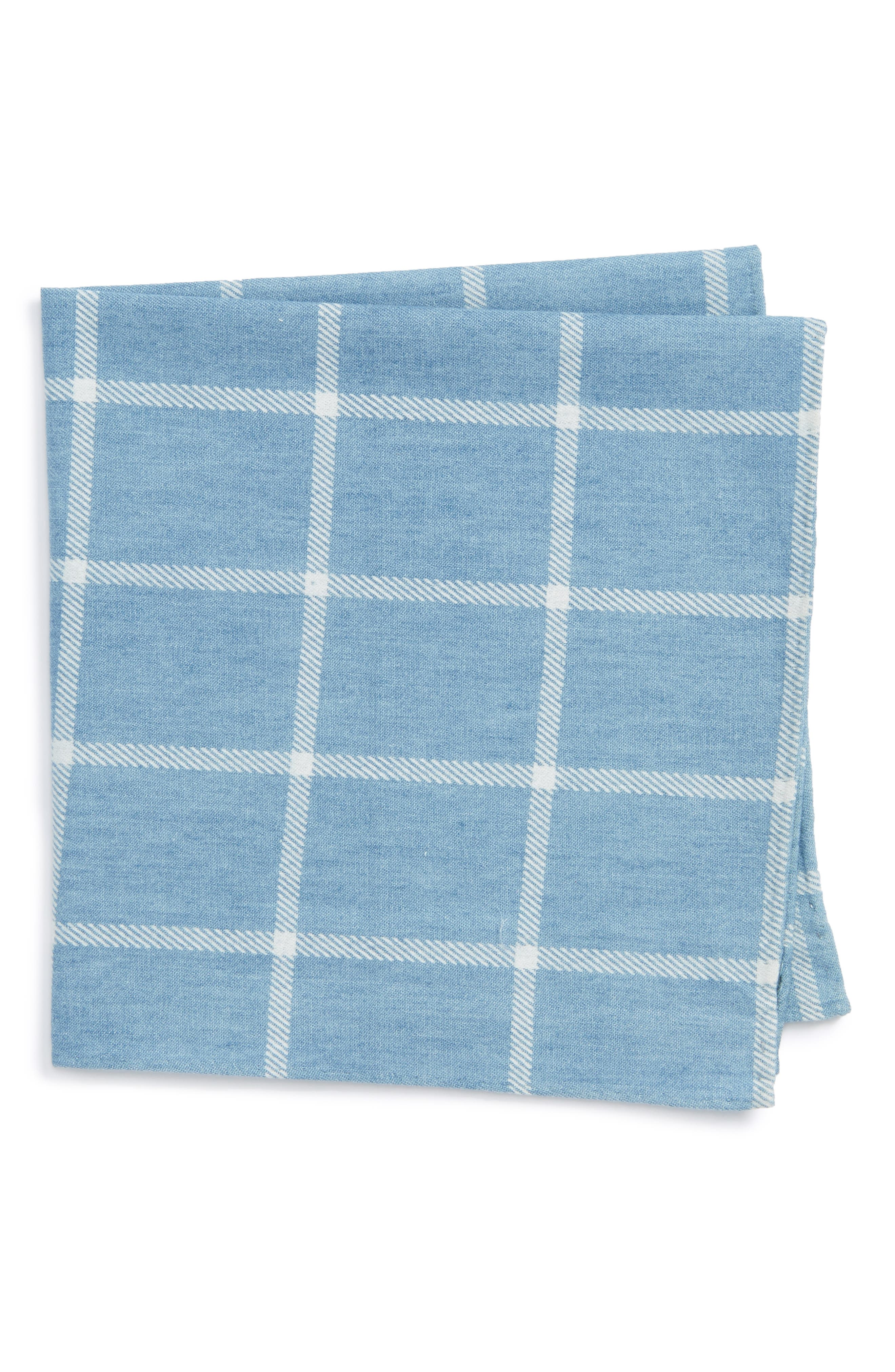 Sergi Check Cotton Pocket Square,                             Main thumbnail 1, color,                             Blue