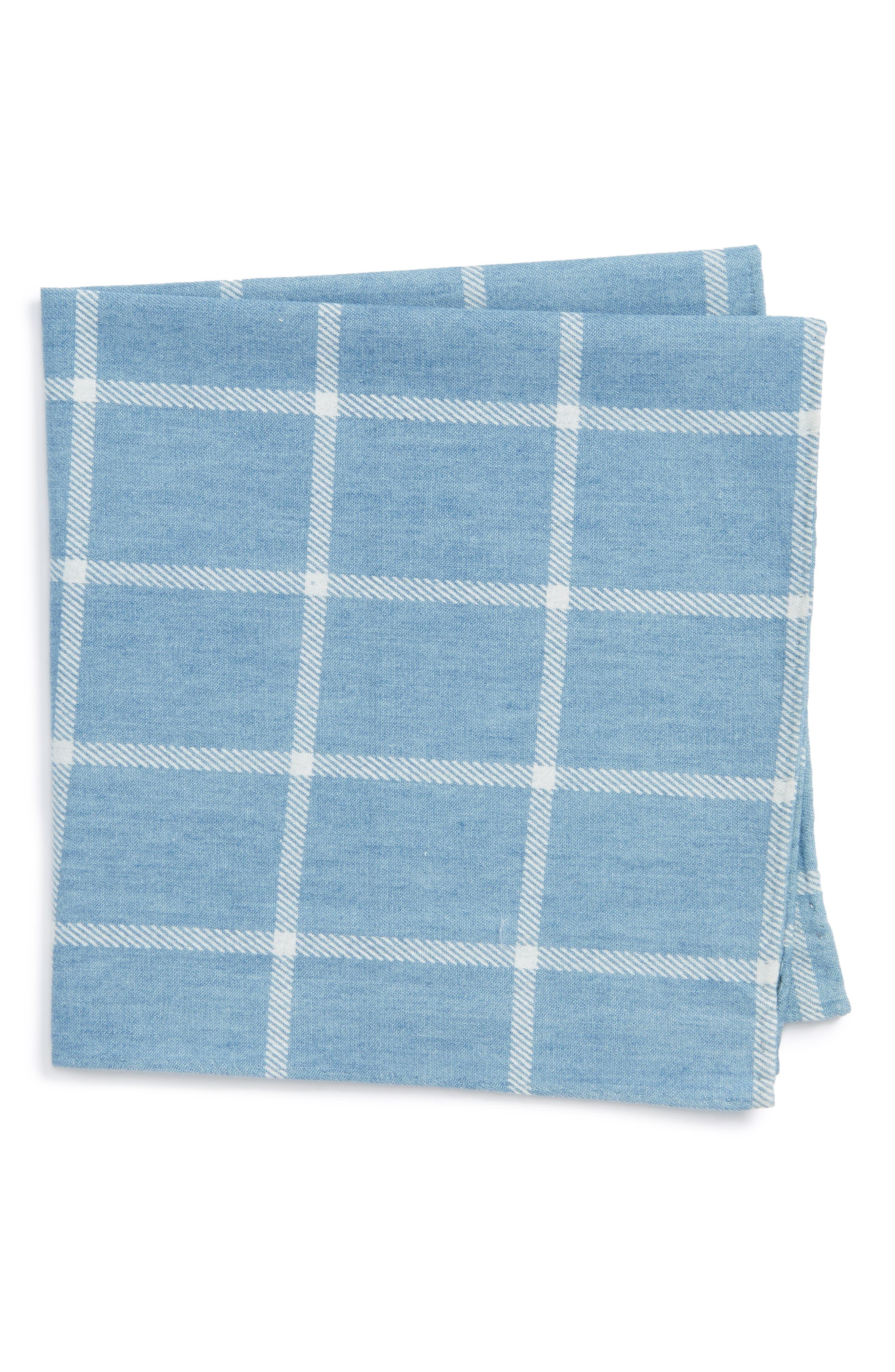 Sergi Check Cotton Pocket Square,                         Main,                         color, Blue