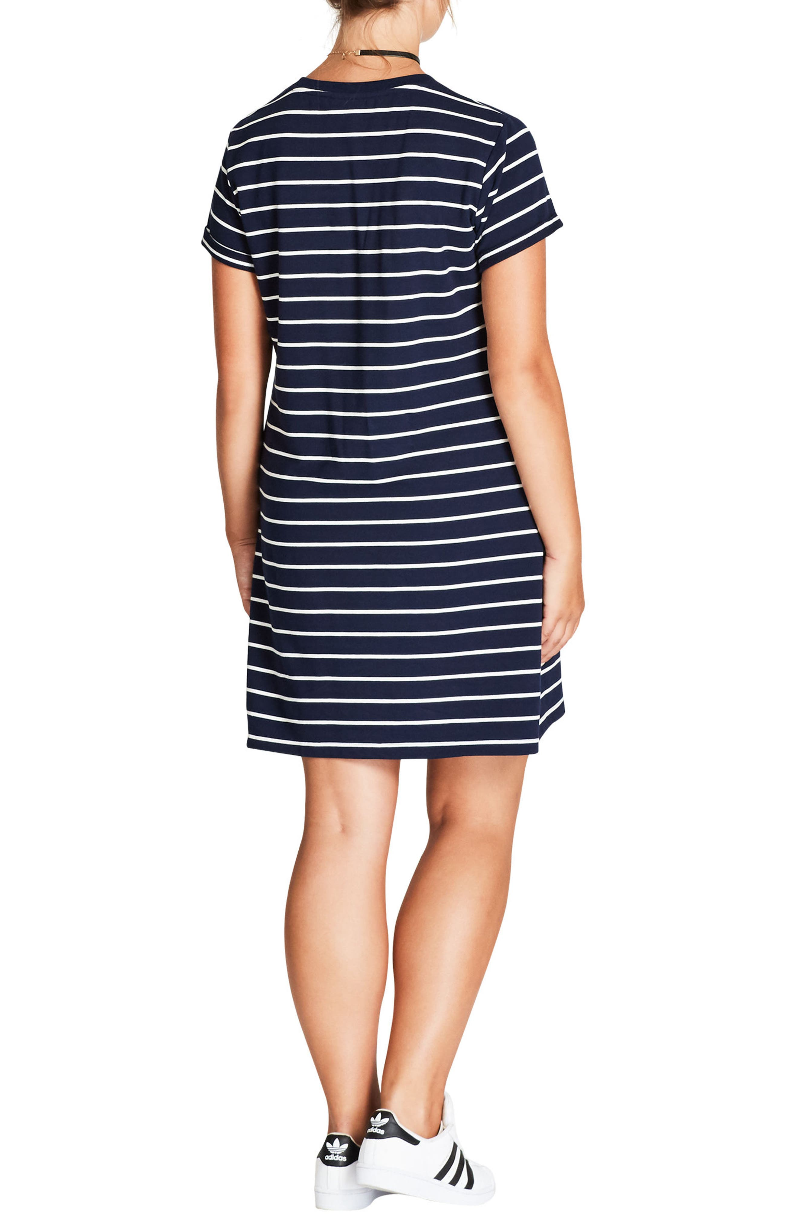 Stripe T-Shirt Dress,                             Alternate thumbnail 2, color,                             Navy