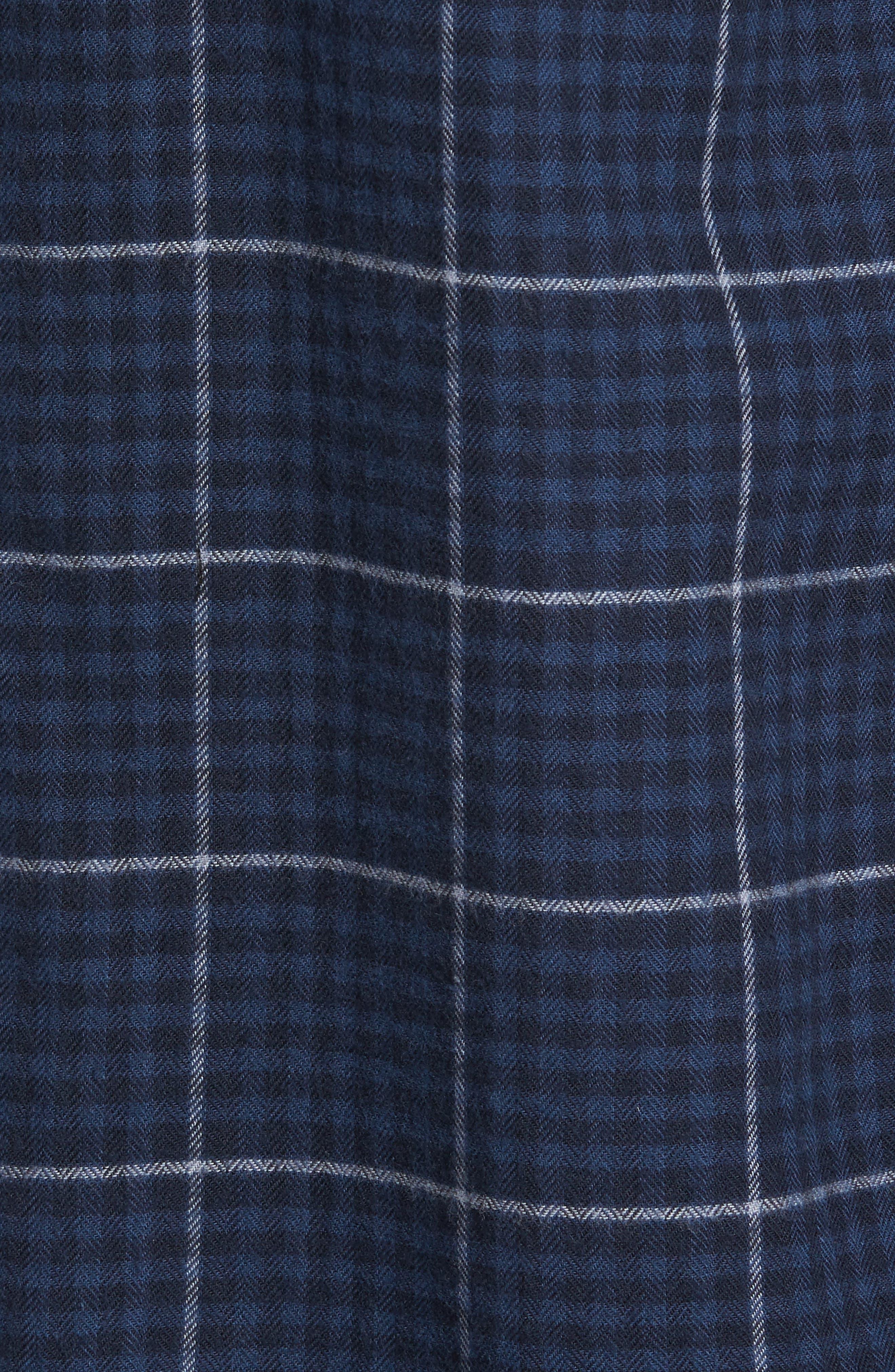 Everett Tattersall Check Sport Shirt,                             Alternate thumbnail 6, color,                             Blue Echo