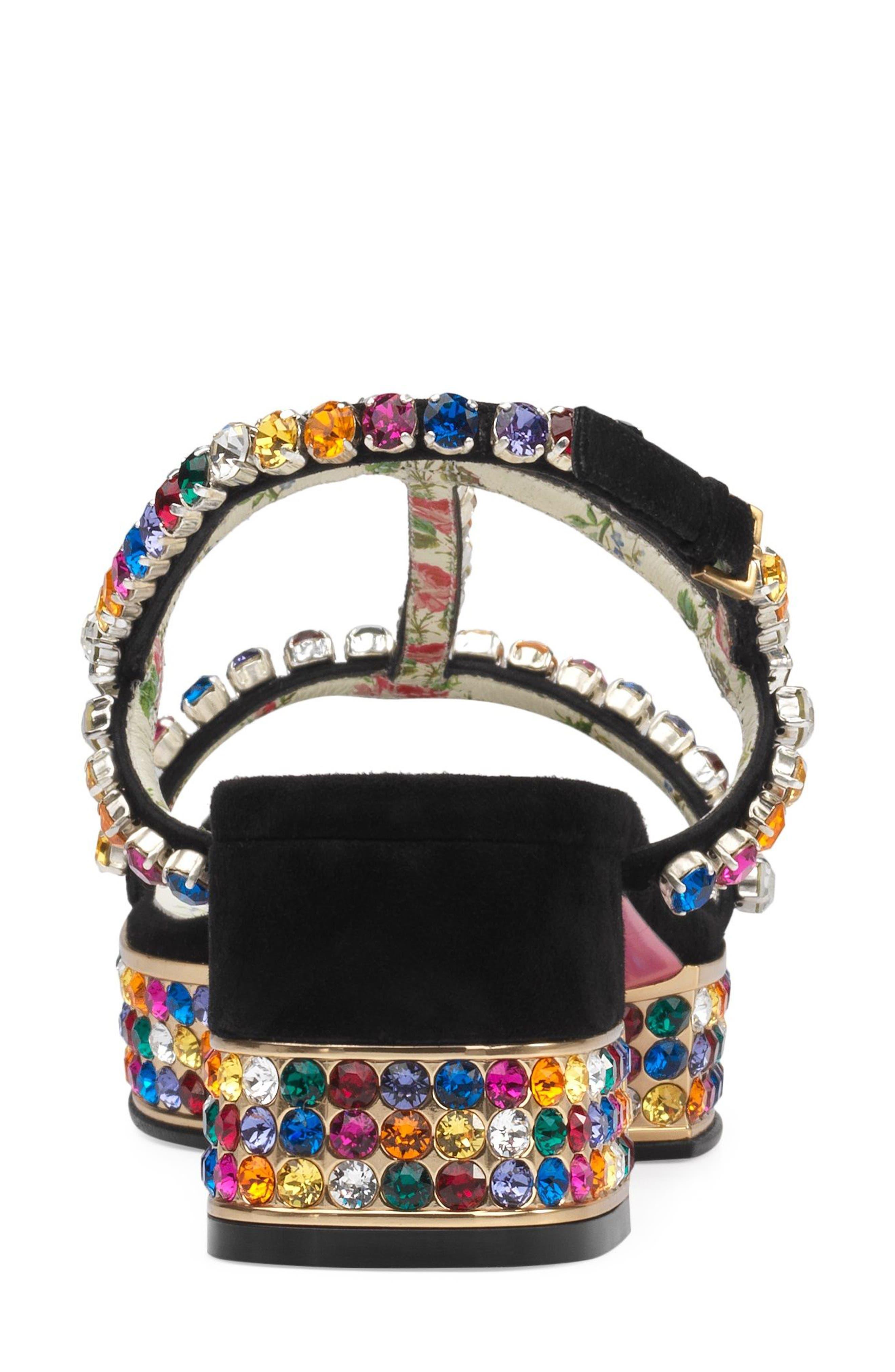 Mira Crystal Embellished Platform Sandal,                             Alternate thumbnail 4, color,                             Black Multi