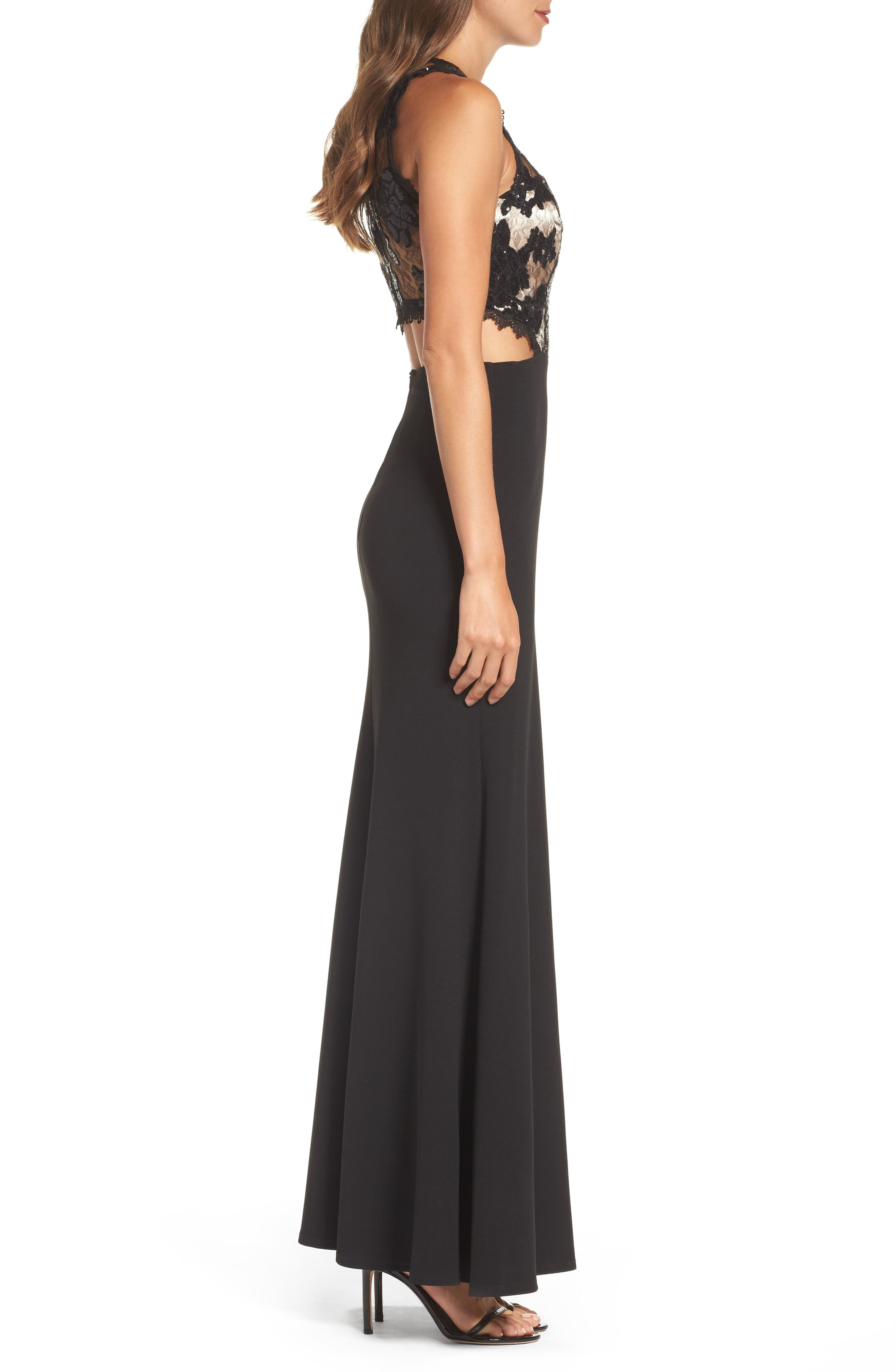Alternate Image 3  - Sequin Hearts Cutout Embellished Lace & Scuba Gown