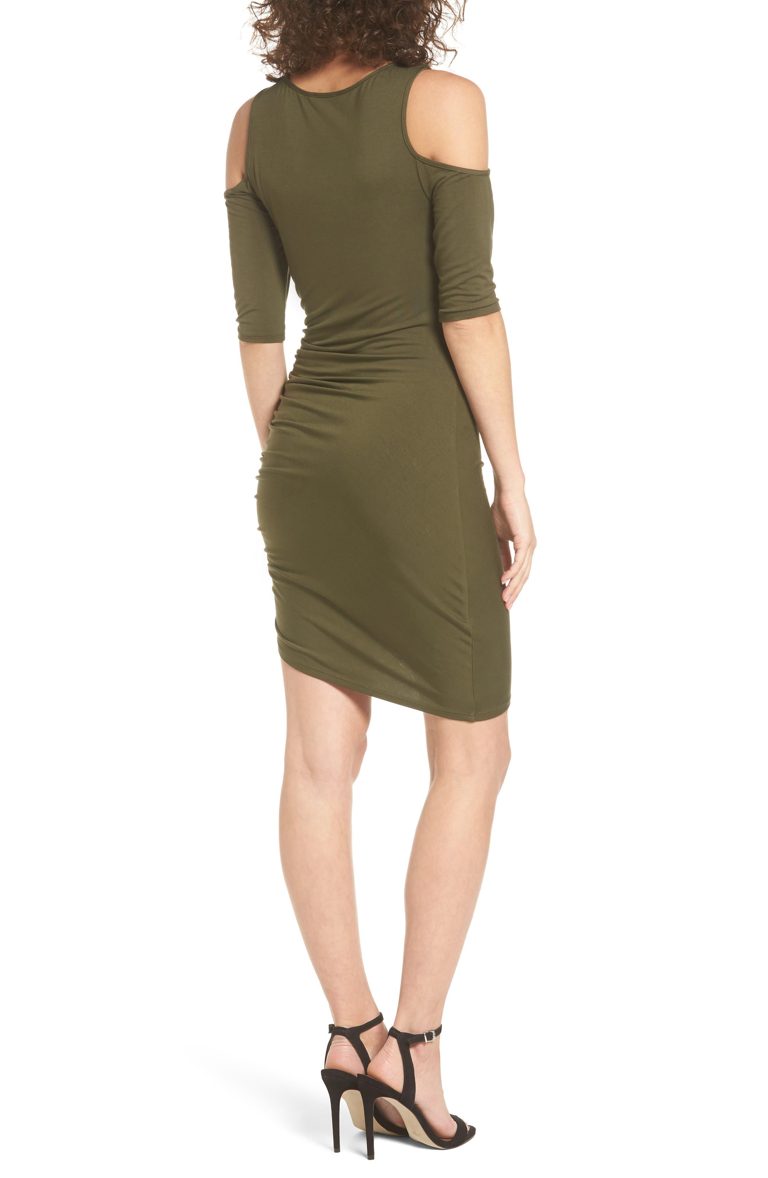 Alternate Image 2  - Soprano Ruched Cold Shoulder Dress