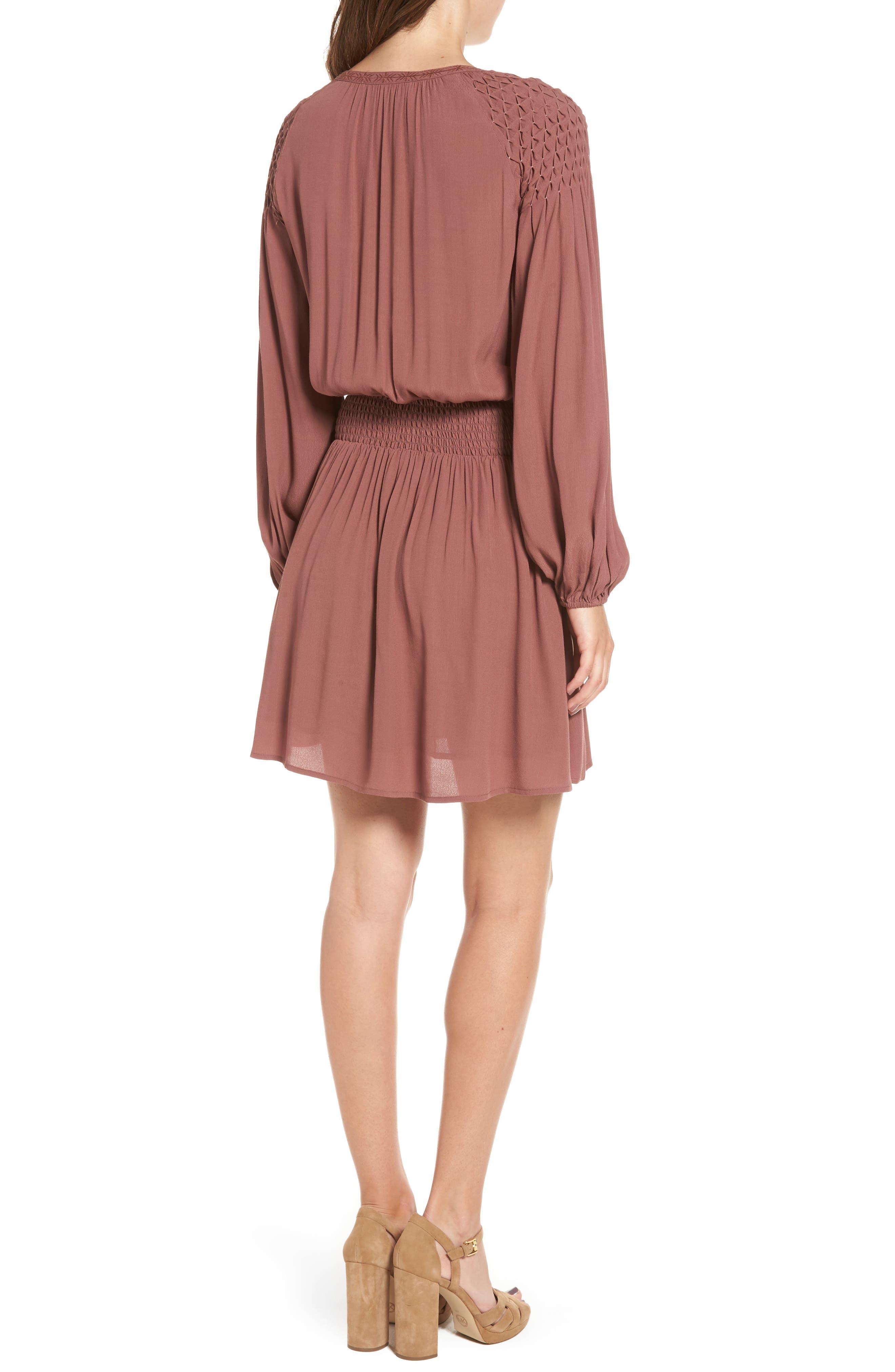 Melinda Blouson Dress,                             Alternate thumbnail 3, color,                             Dark Mauve