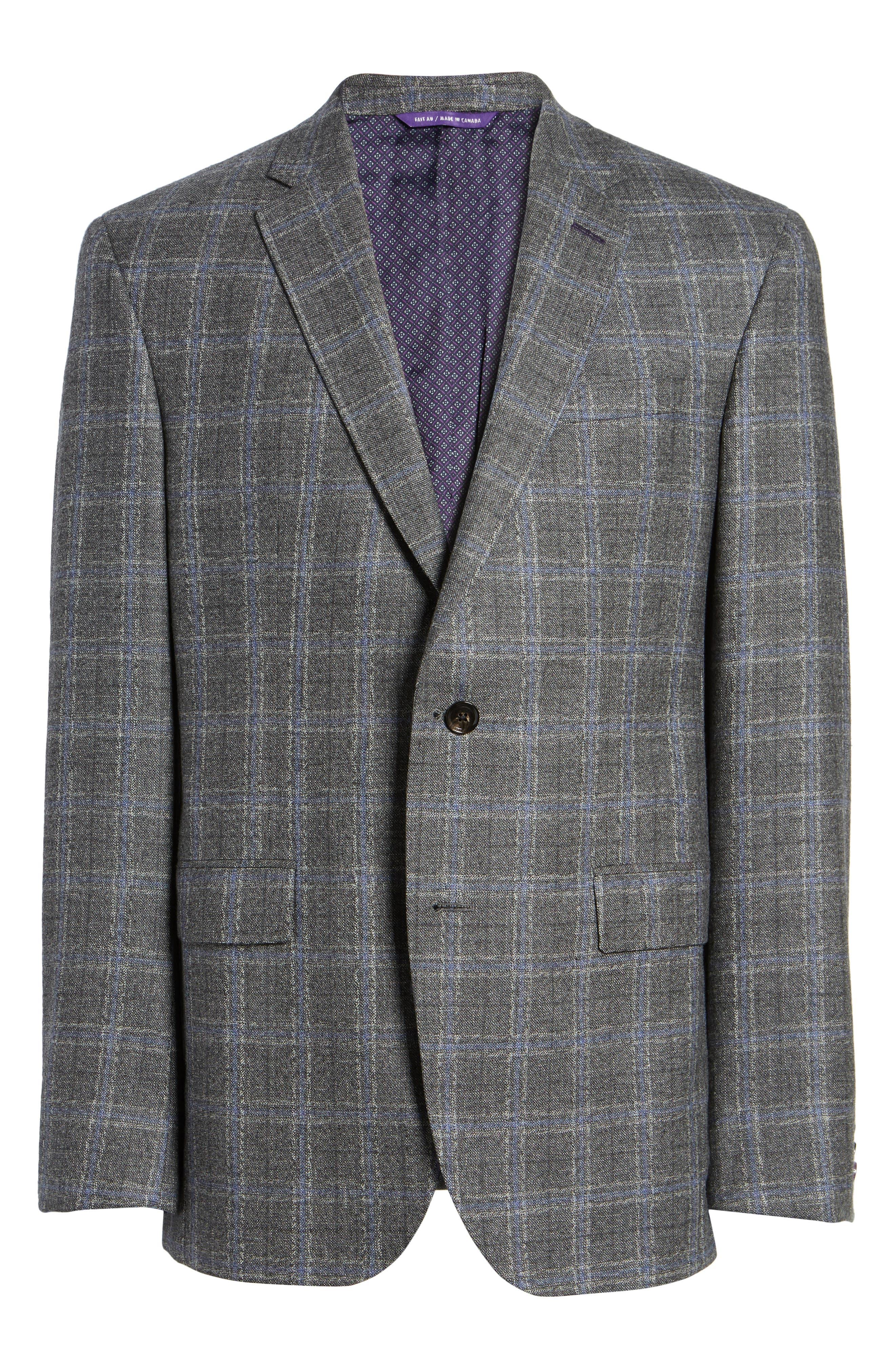 Tivoli Trim Fit Plaid Wool Sport Coat,                             Alternate thumbnail 6, color,                             Light Grey