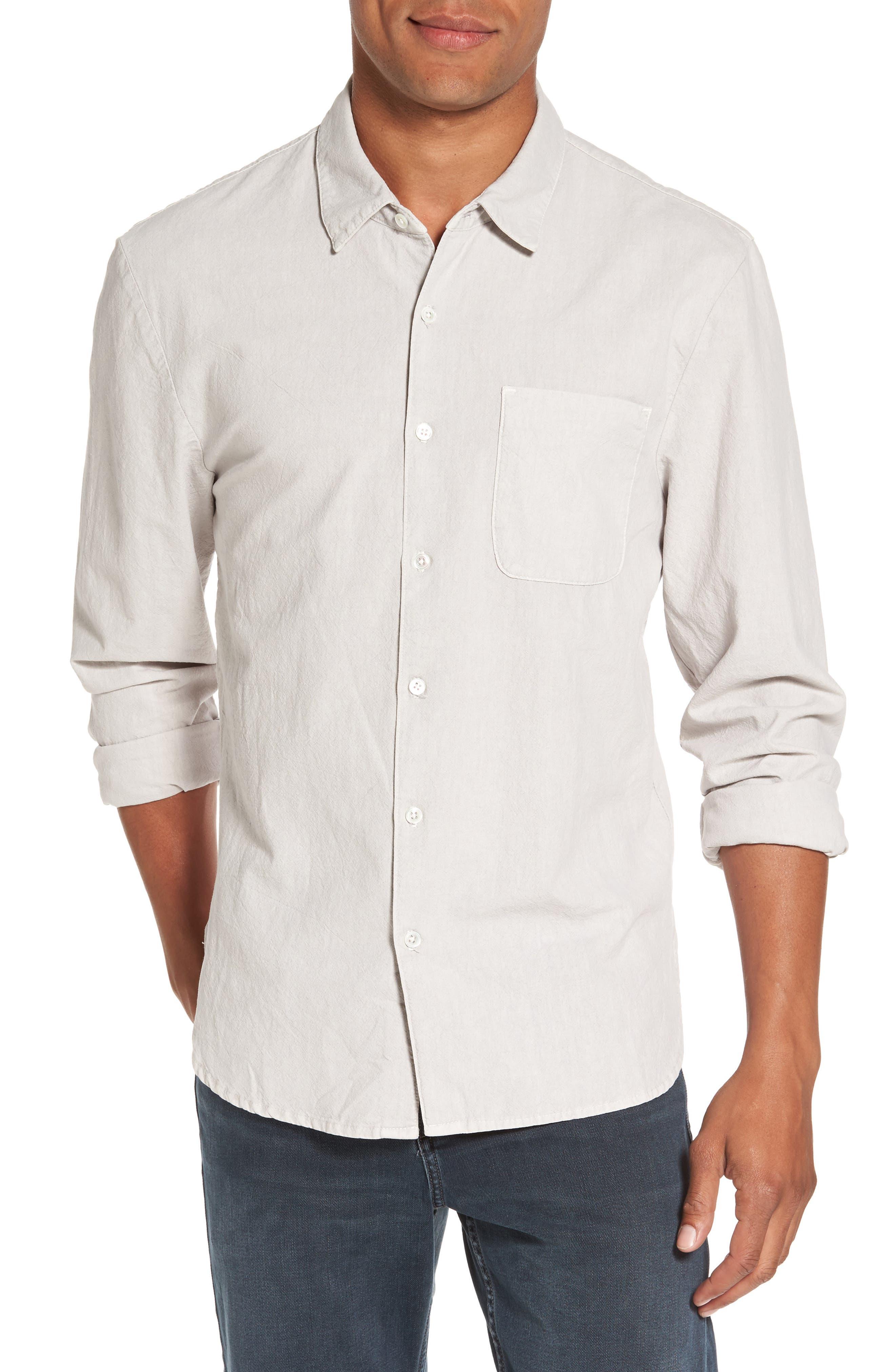 Slim Cotton Sport Shirt,                             Main thumbnail 1, color,                             Concrete Dust Pigment