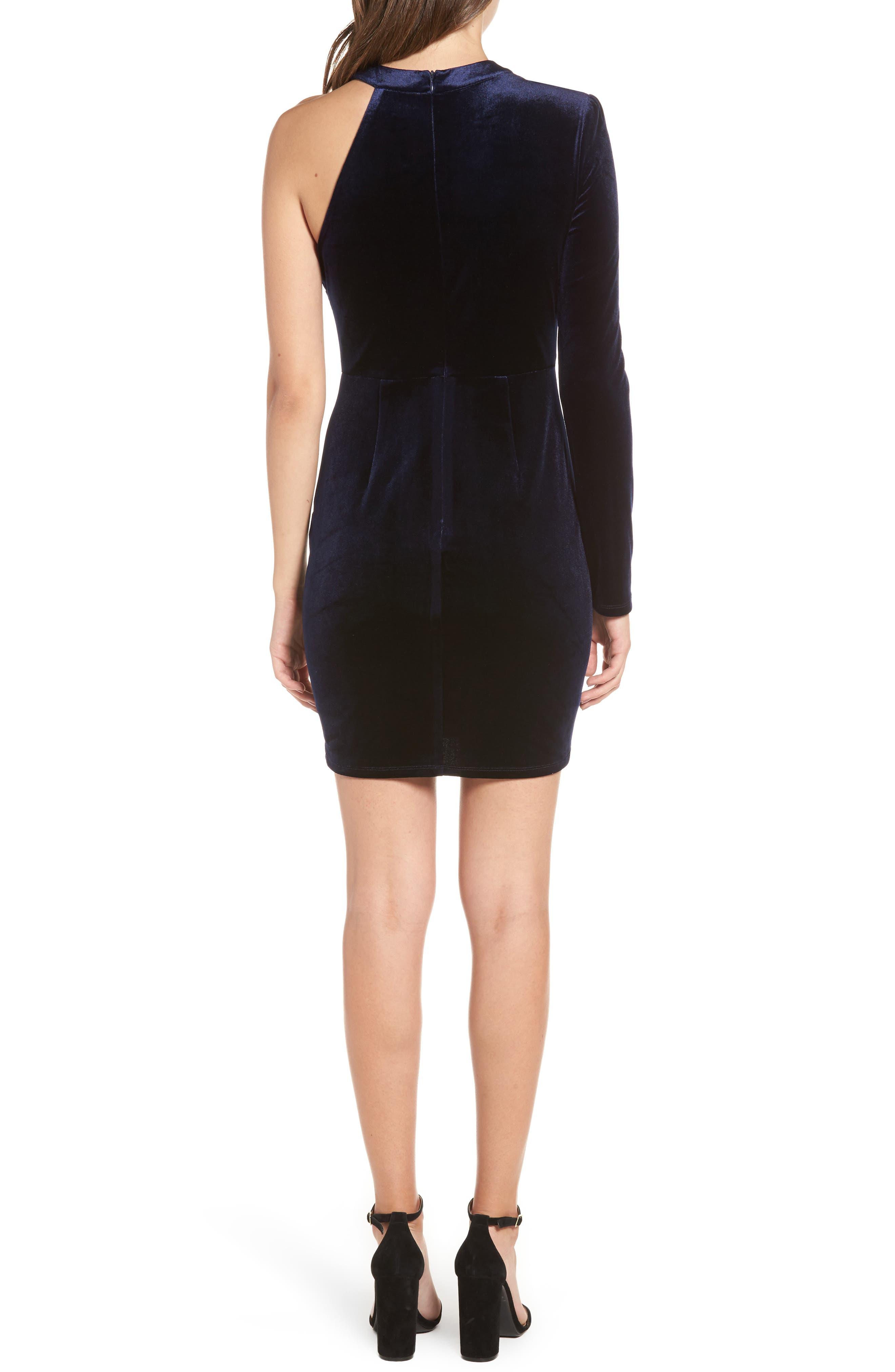 One-Shoulder Velvet Body-Con Dress,                             Alternate thumbnail 2, color,                             Navy
