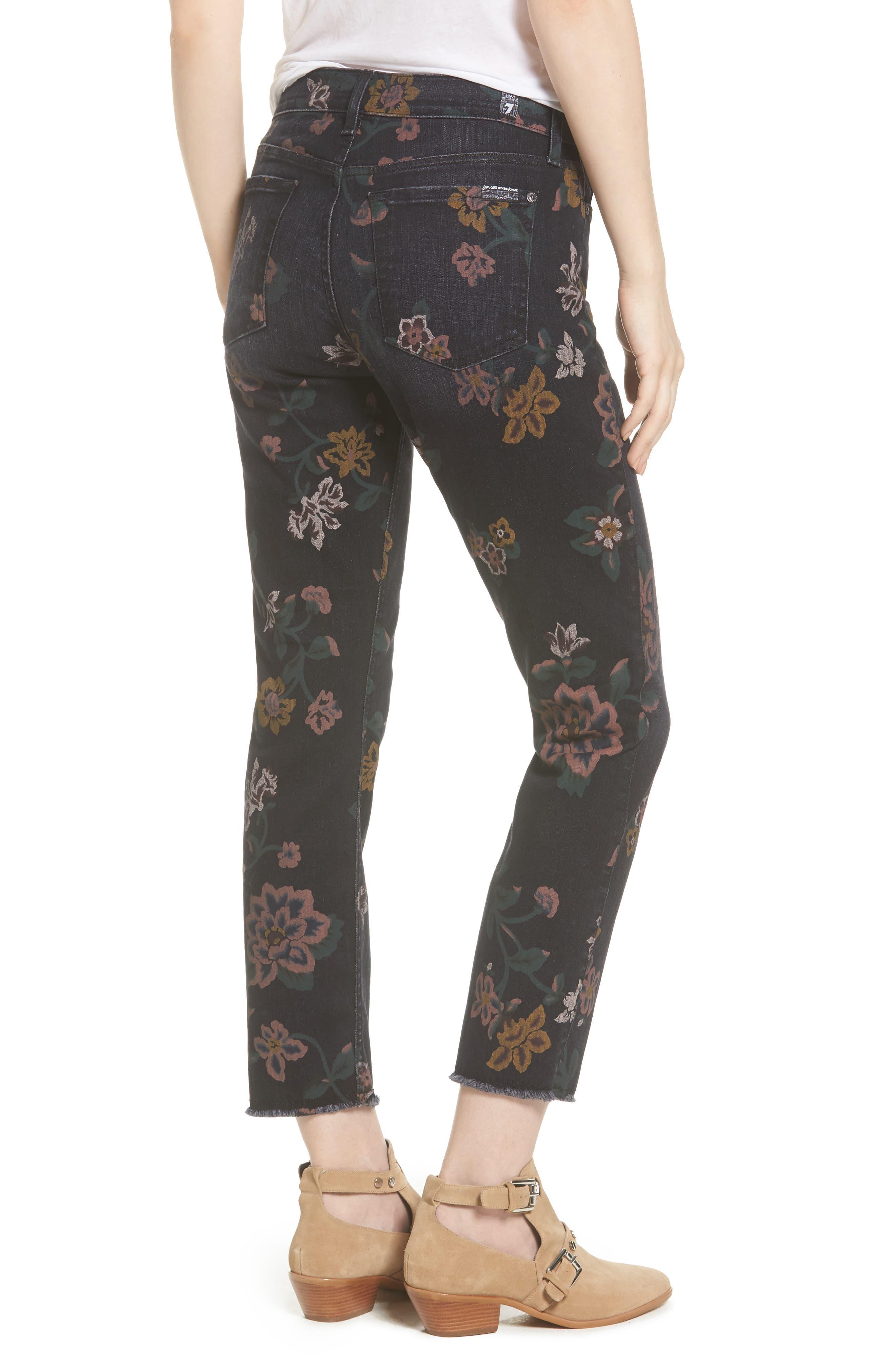 Roxanne Floral Print Ankle Slim Jeans,                             Alternate thumbnail 2, color,                             Print On Noir
