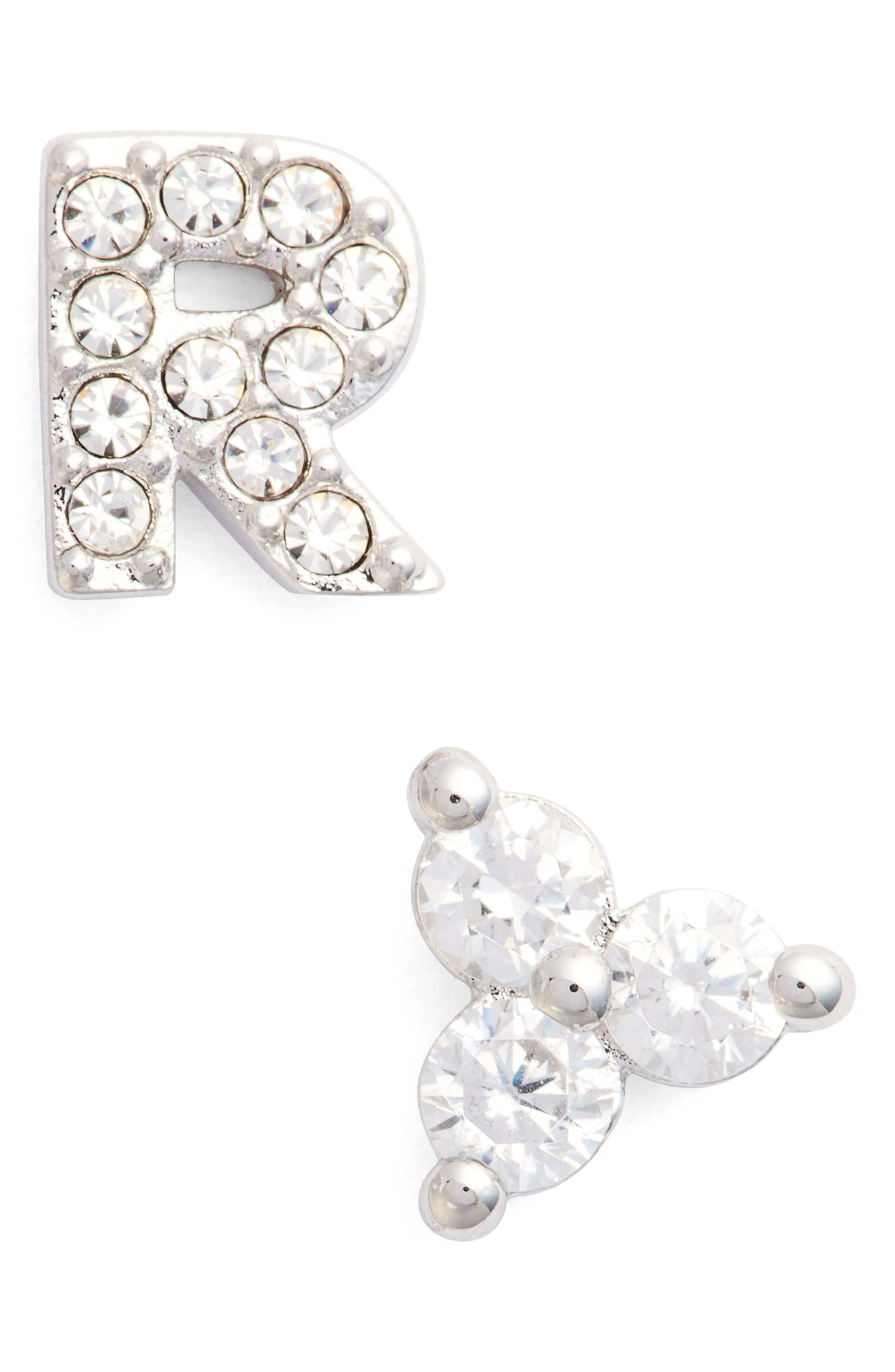 Nadri Initial Mismatched Stud Earrings