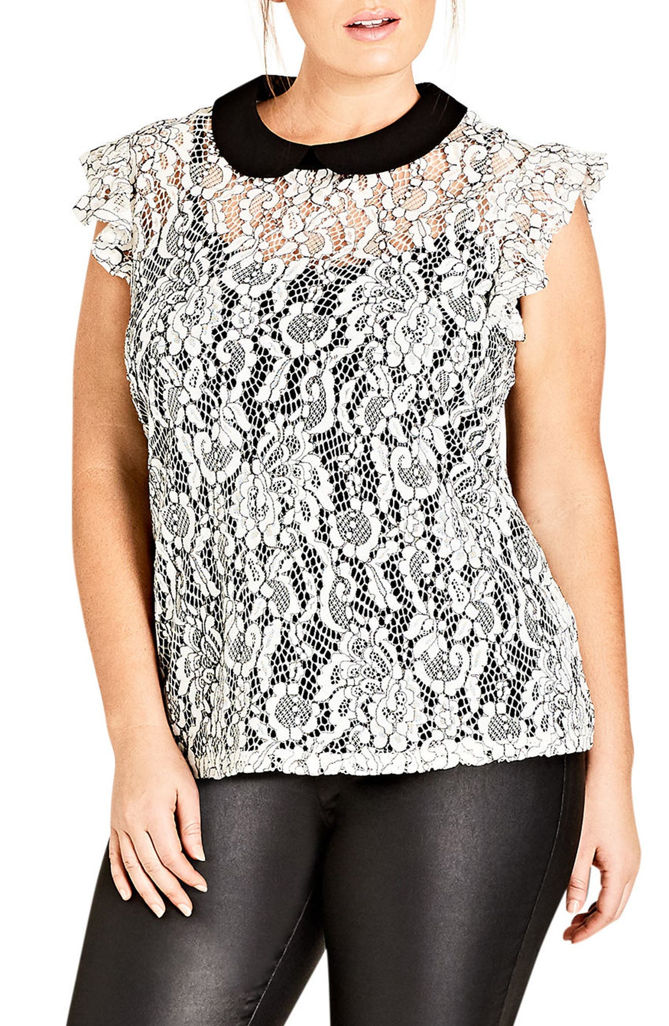 Lady Victoria Lace Top,                             Main thumbnail 1, color,                             Ivory