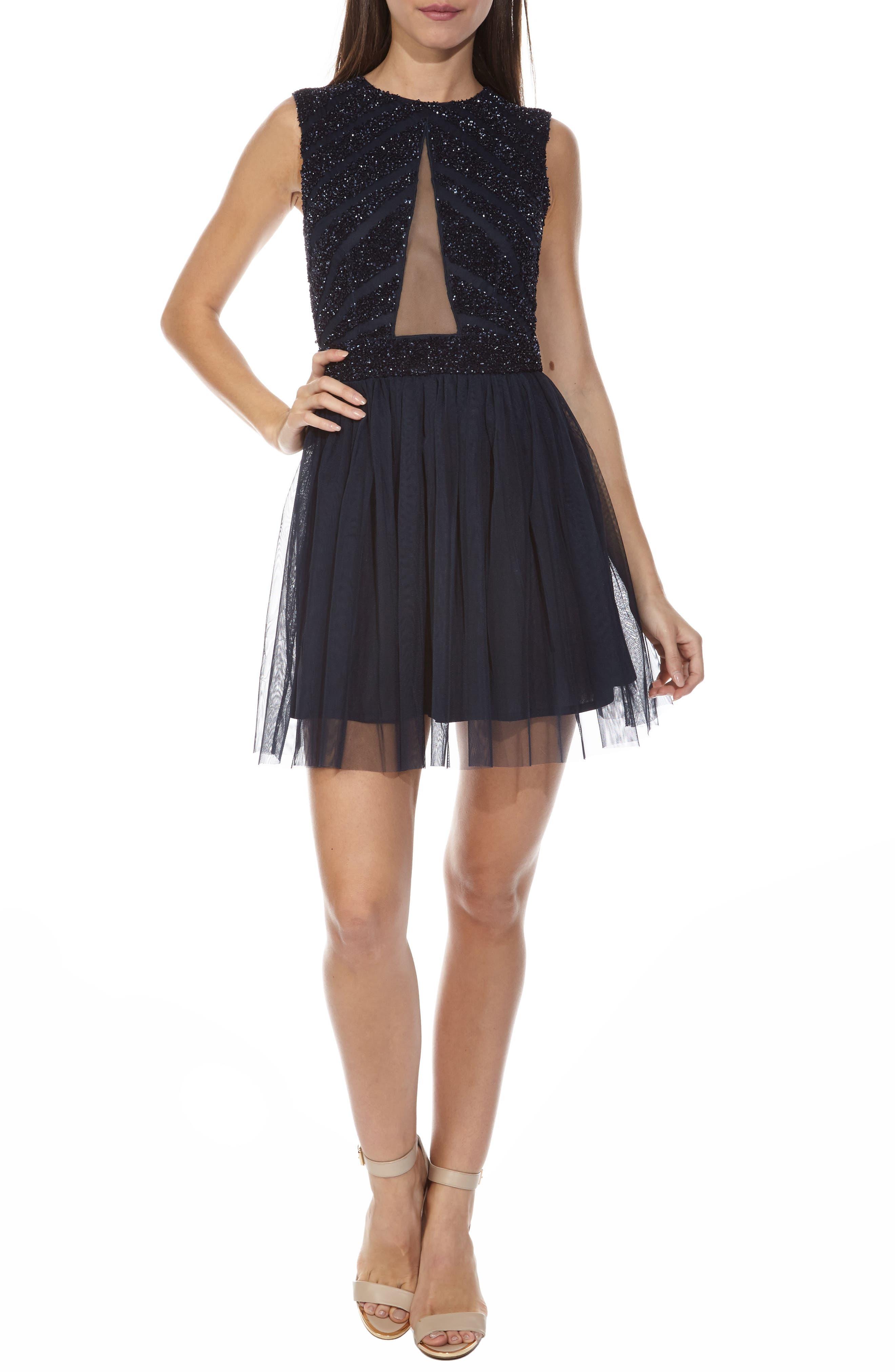 Agatha Embellished Skater Dress,                         Main,                         color, Navy