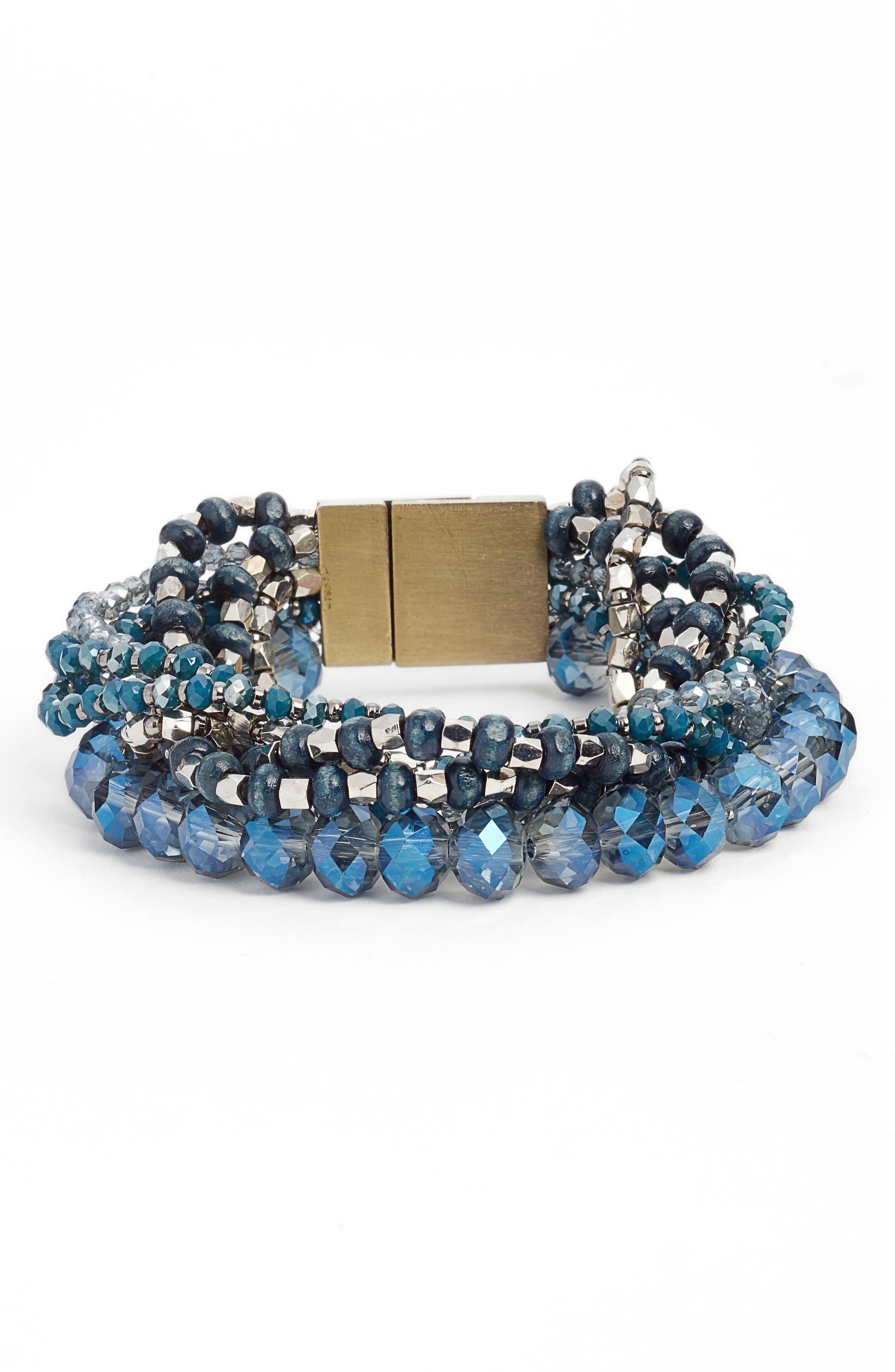 Layered Statement Bracelet,                         Main,                         color, Blue