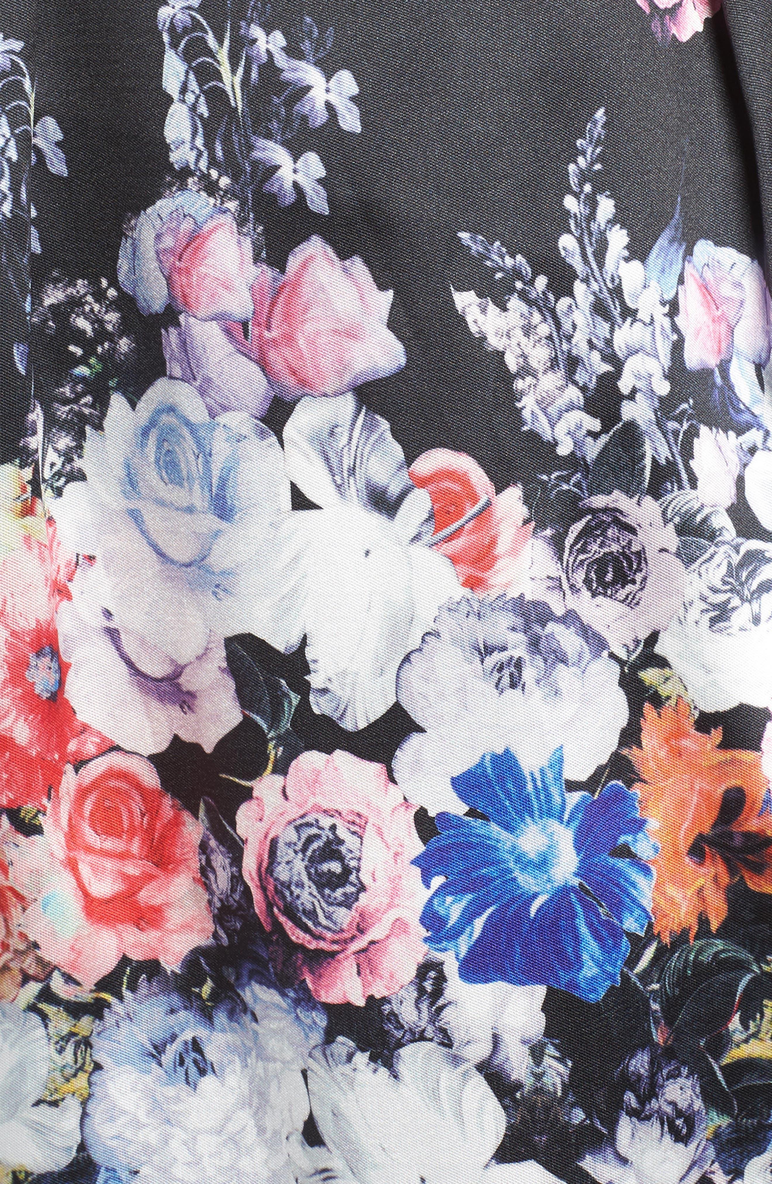 Floral Print Strapless Fit & Flare Dress,                             Alternate thumbnail 5, color,                             Black/ Multi