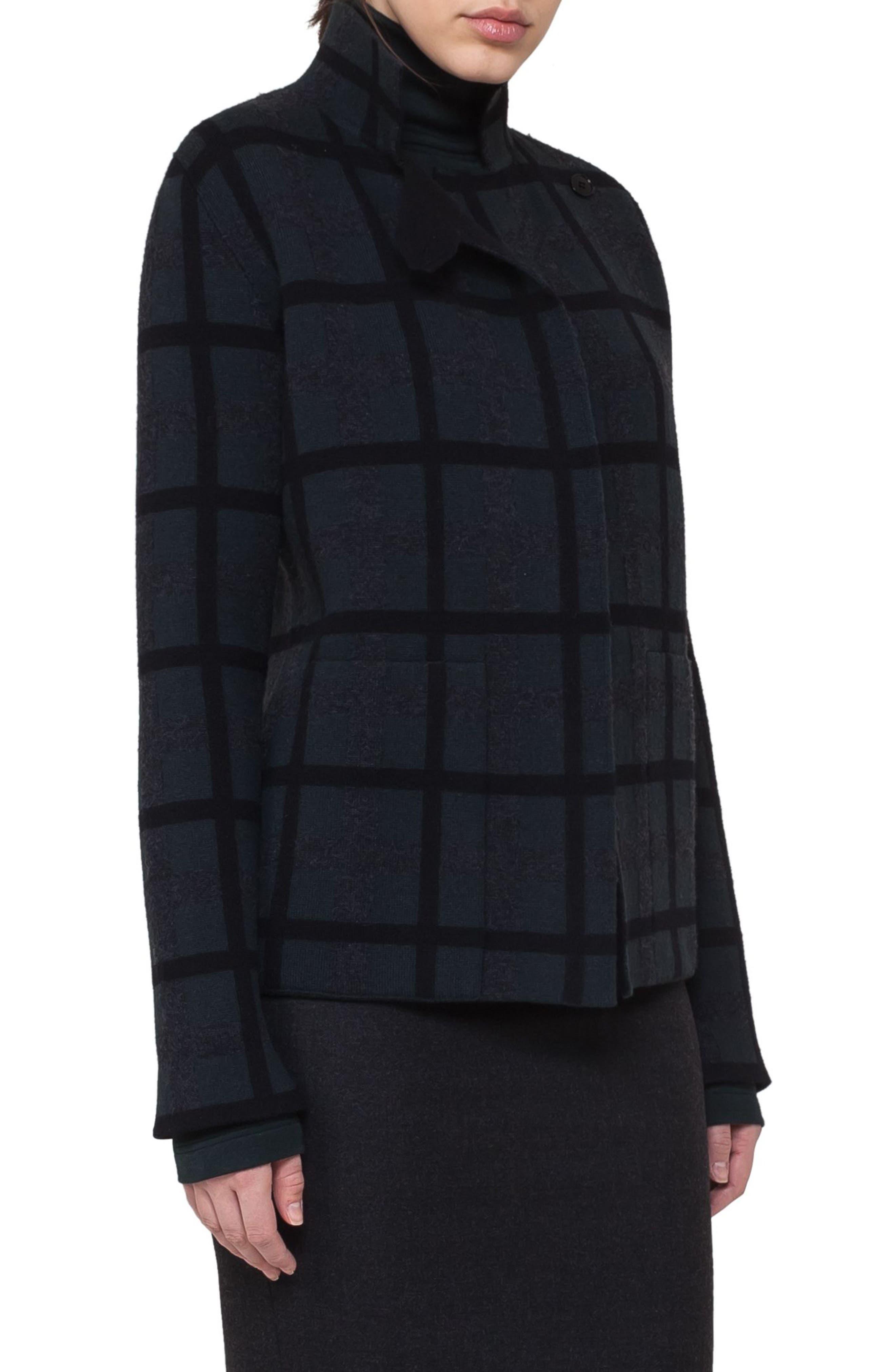 Double Face Cashmere Reversible Plaid Jacket,                         Main,                         color, Shadow-Black