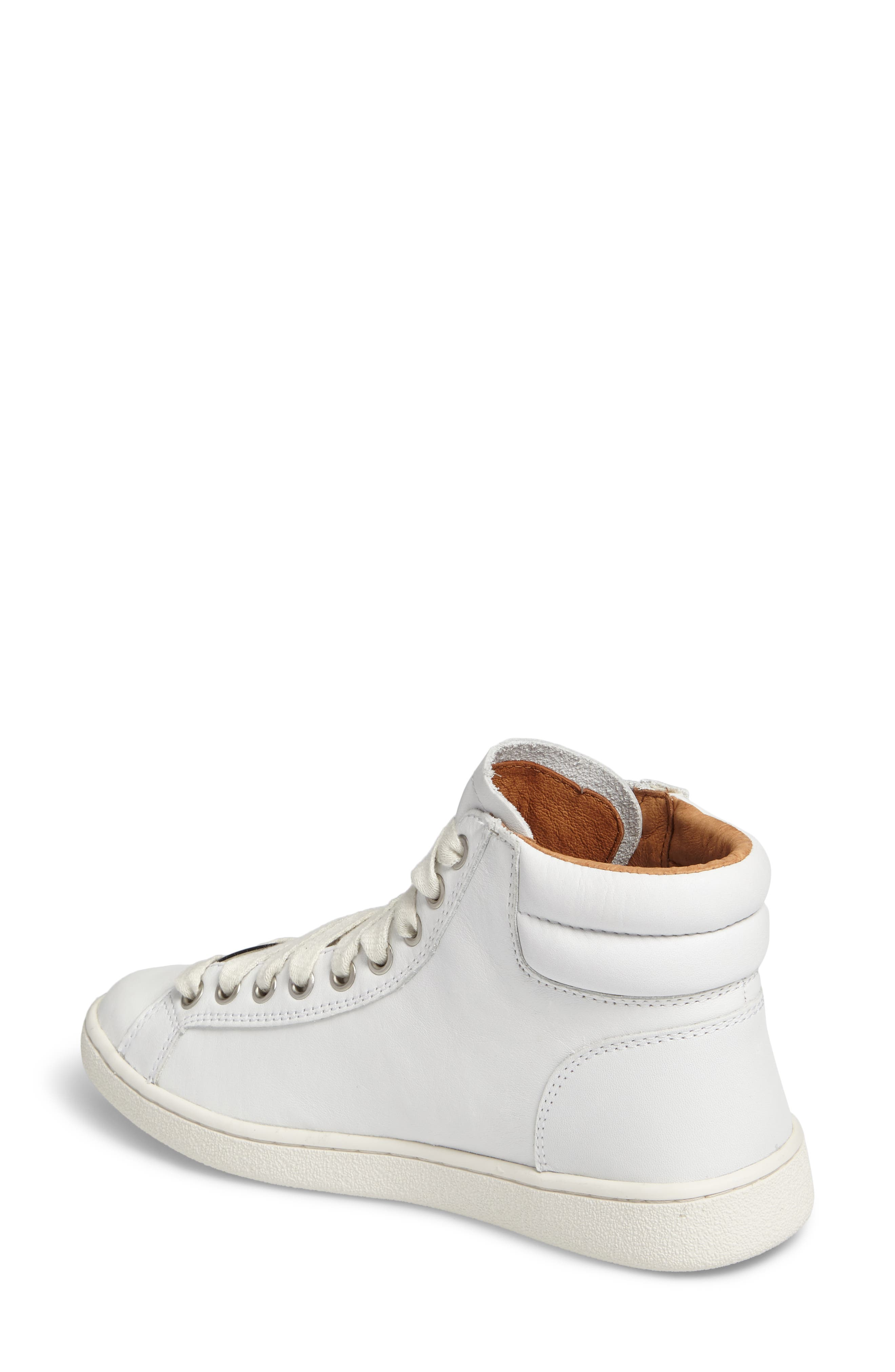UGG Olive High Top Sneaker,                             Alternate thumbnail 2, color,                             White Leather