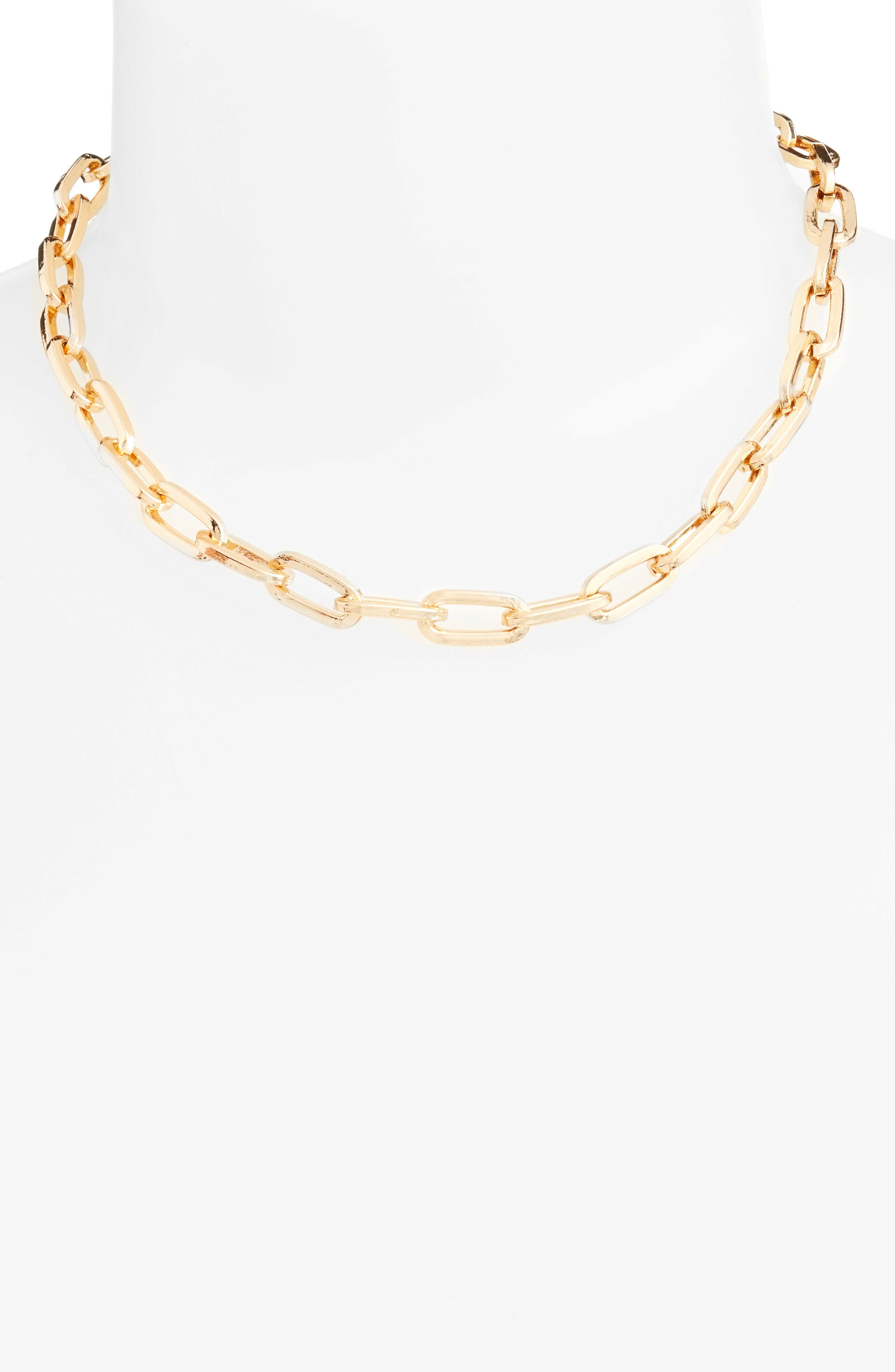 Signature Link Necklace,                         Main,                         color, Gold