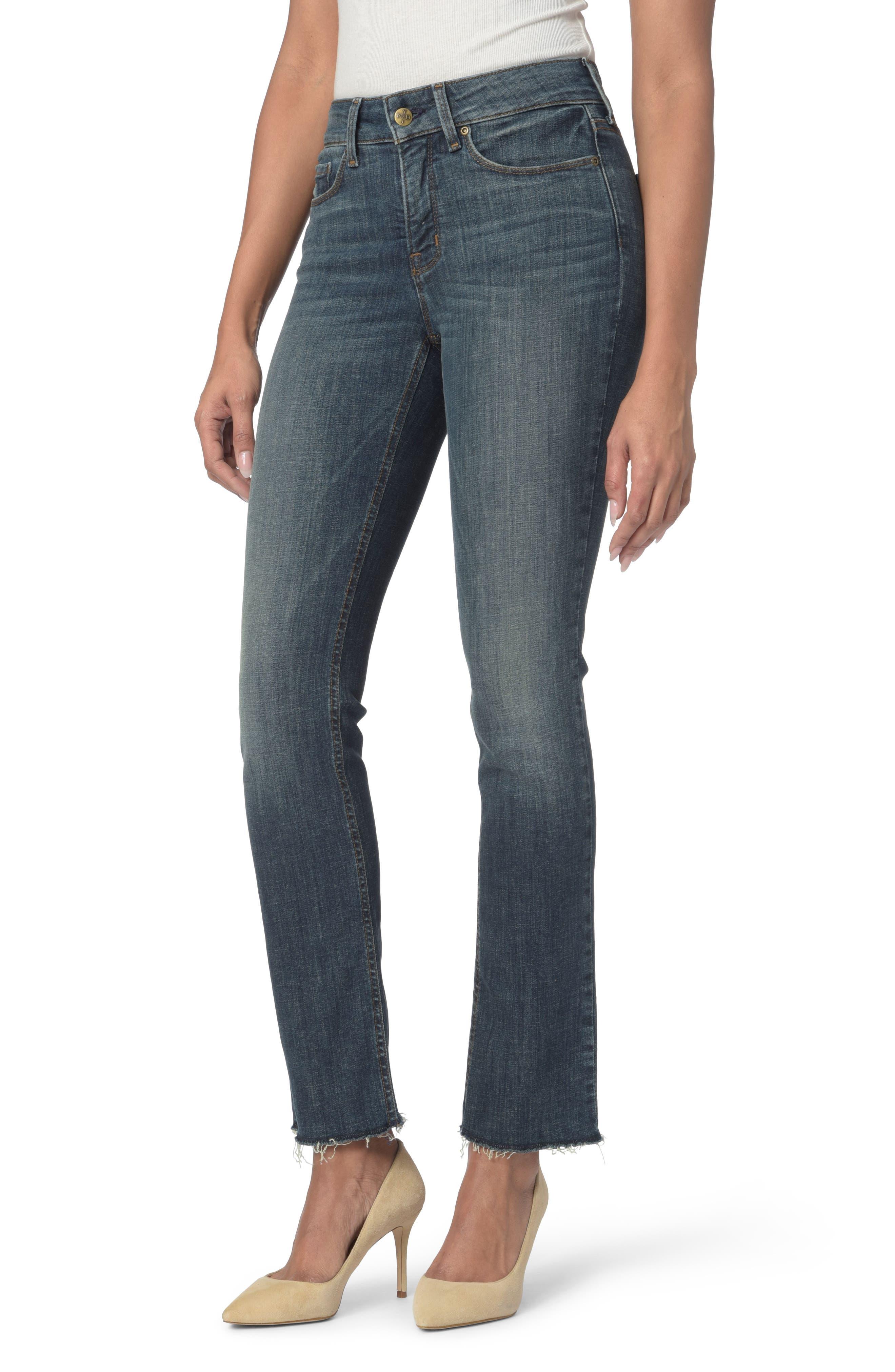 Main Image - NYDJ Marilyn Raw Hem Stretch Ankle Straight Leg Jeans (Desert Gold)