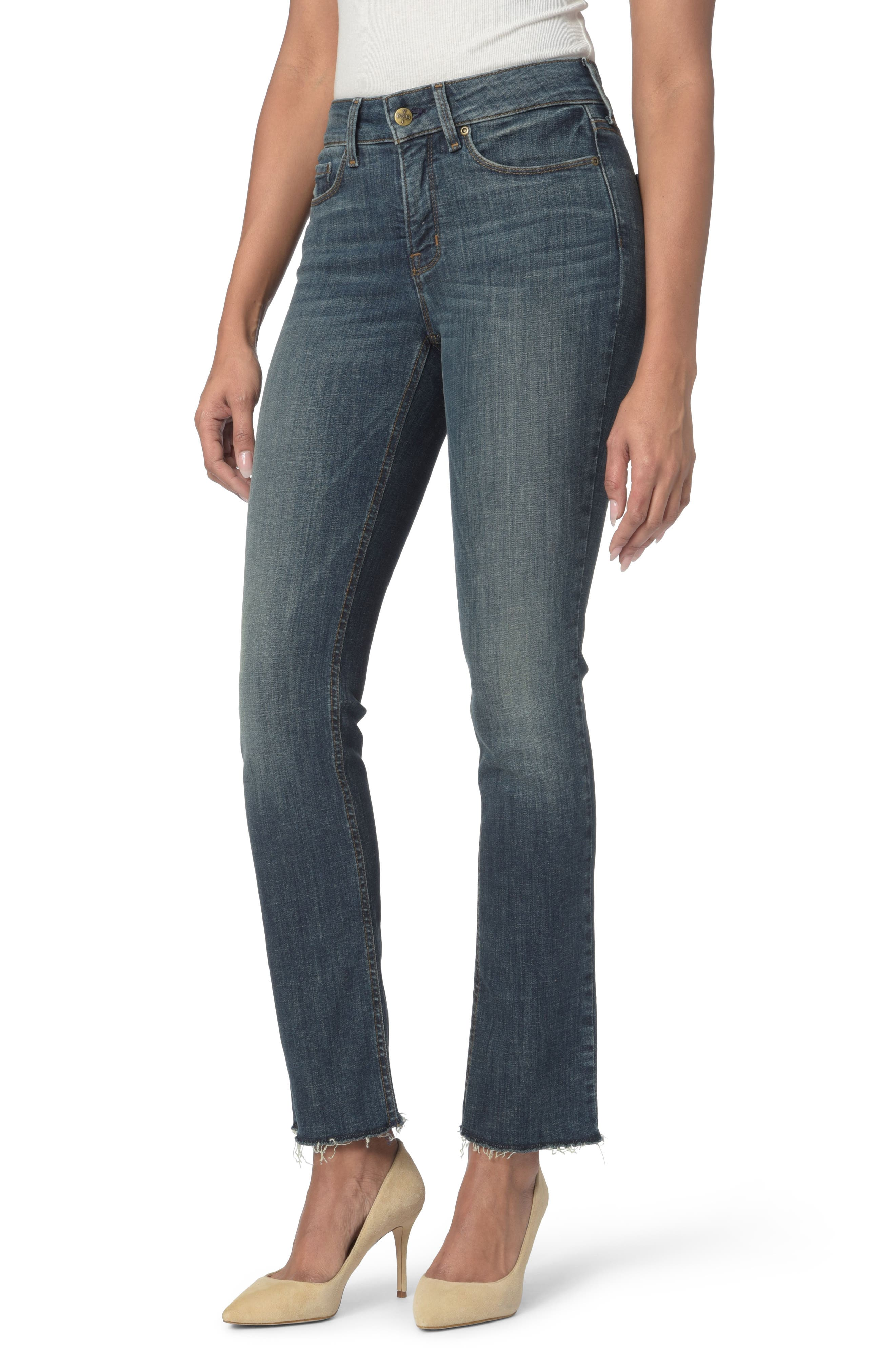 NYDJ Marilyn Raw Hem Stretch Ankle Straight Leg Jeans (Desert Gold)