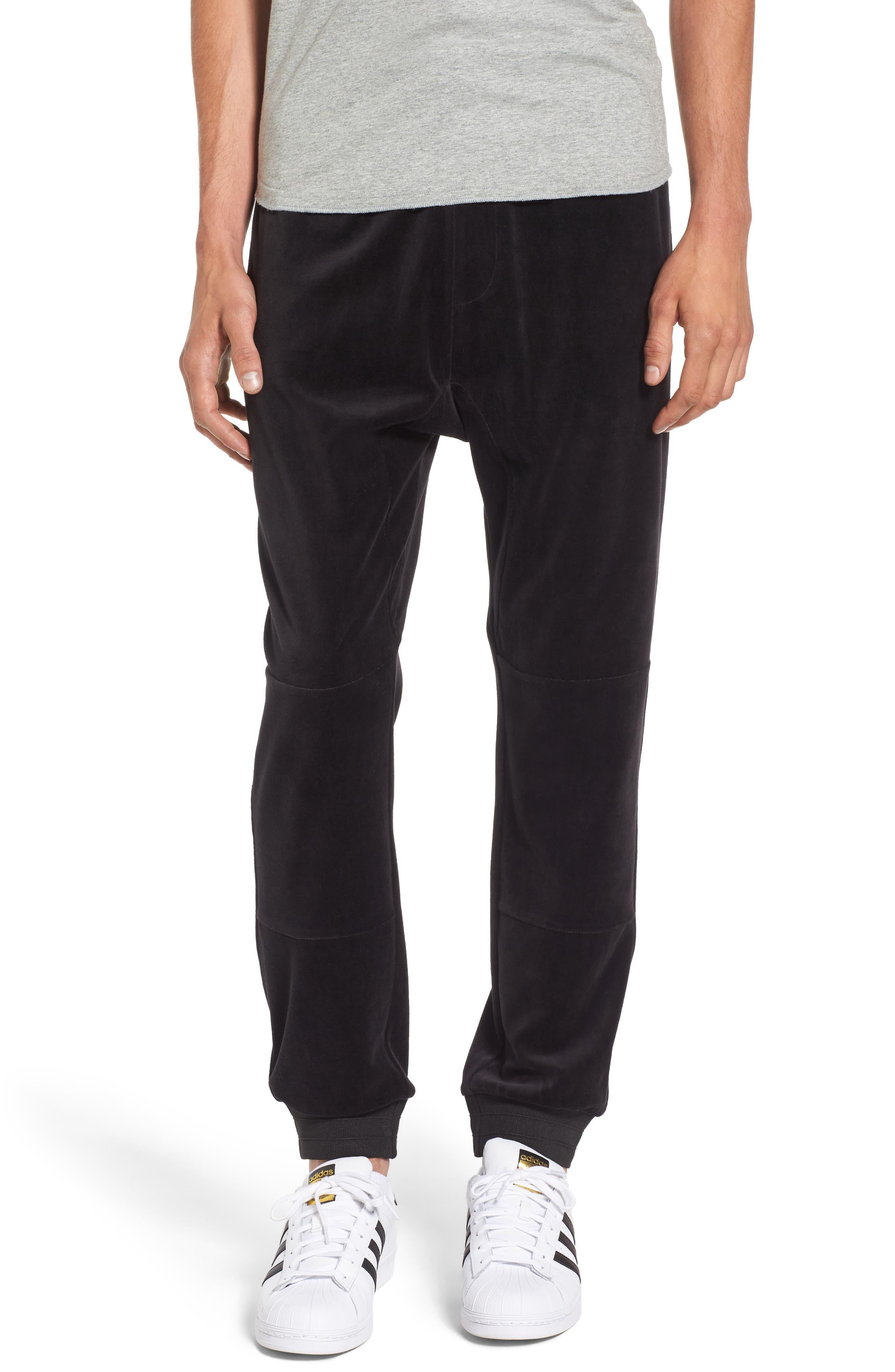Velour Jogger Pants,                         Main,                         color, Black Rock