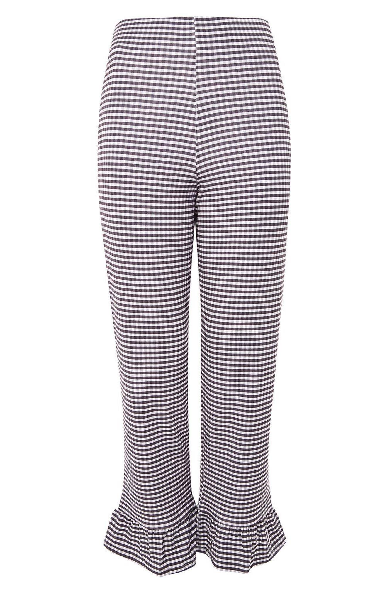 Alternate Image 5  - Topshop Gingham Ruffle Capri Trousers