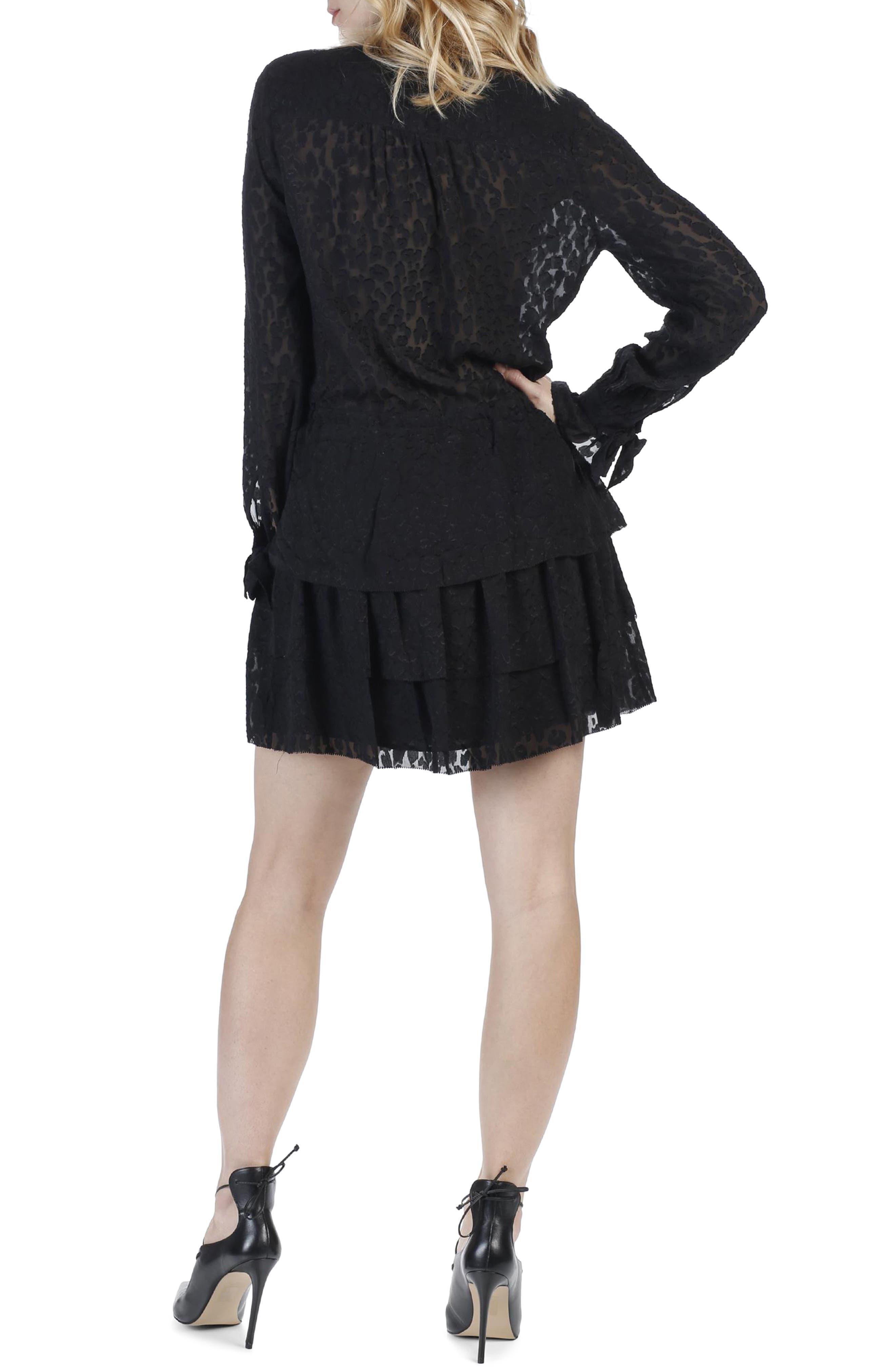 Capricia Silk Dress,                             Alternate thumbnail 2, color,                             Black