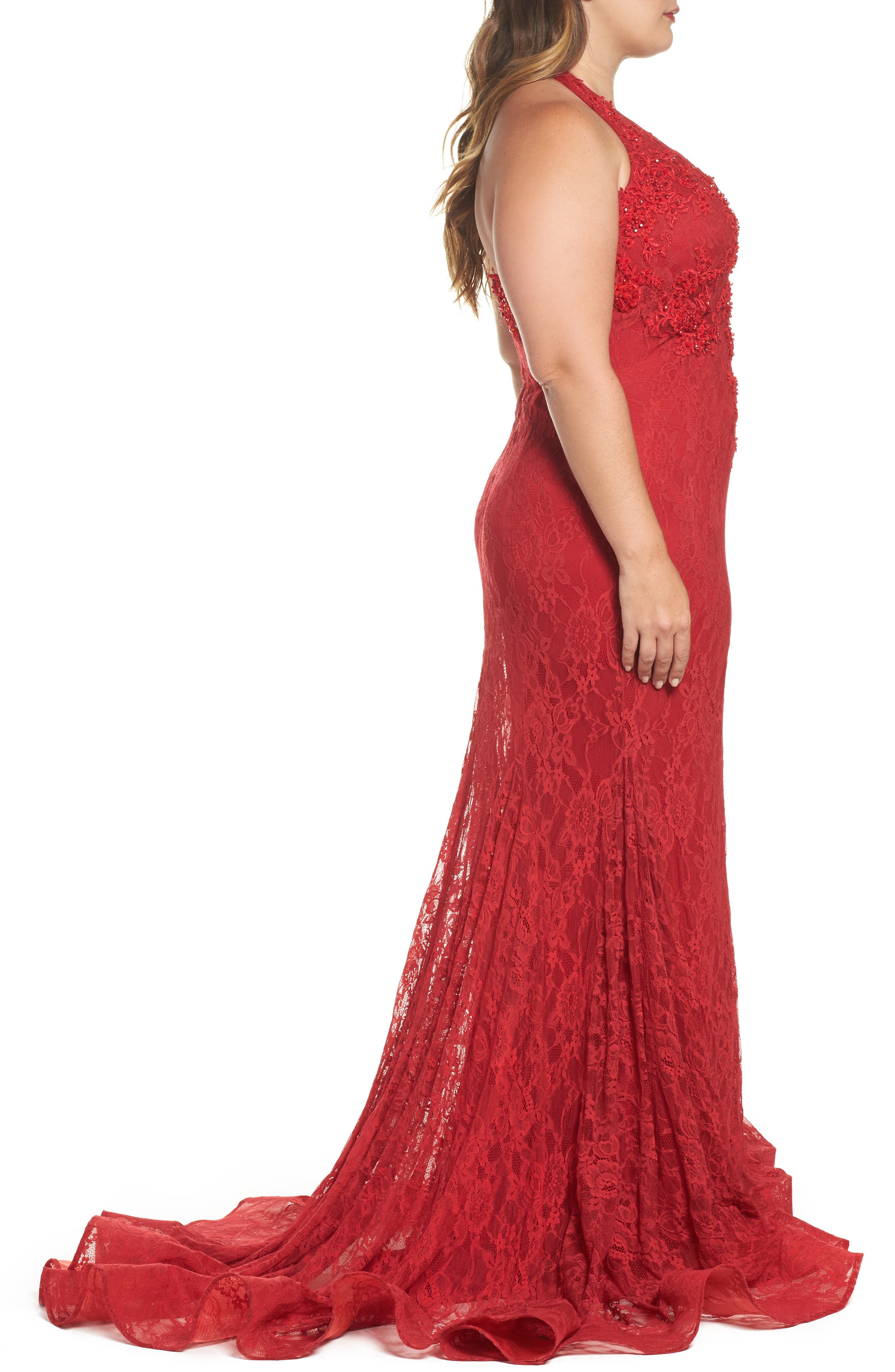 MacDuggal Lace Halter Dress,                             Alternate thumbnail 3, color,                             Red