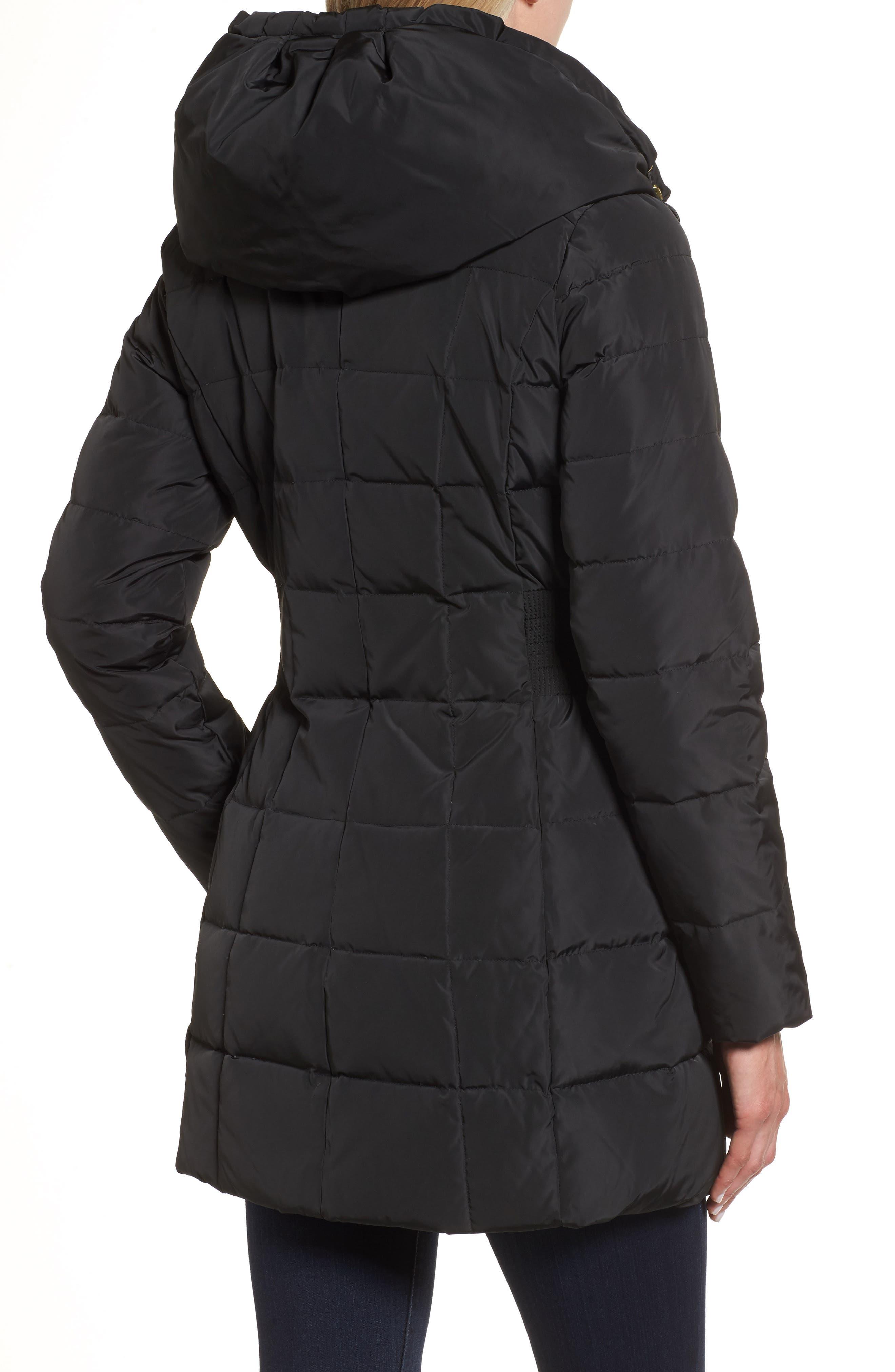 Quiz black puffer belted coat