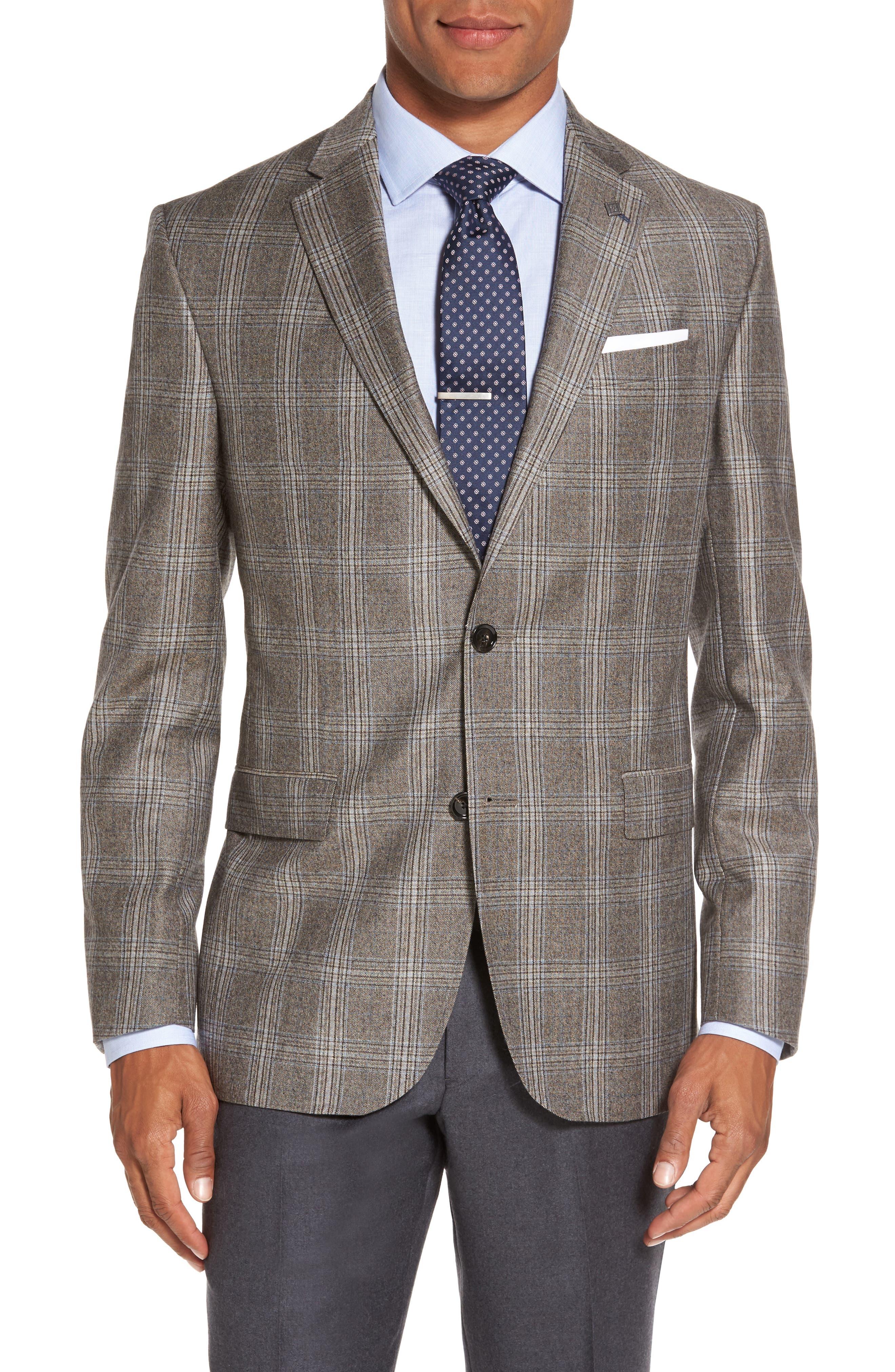 Jay Trim Fit Plaid Wool Sport Coat,                         Main,                         color, Light Brown