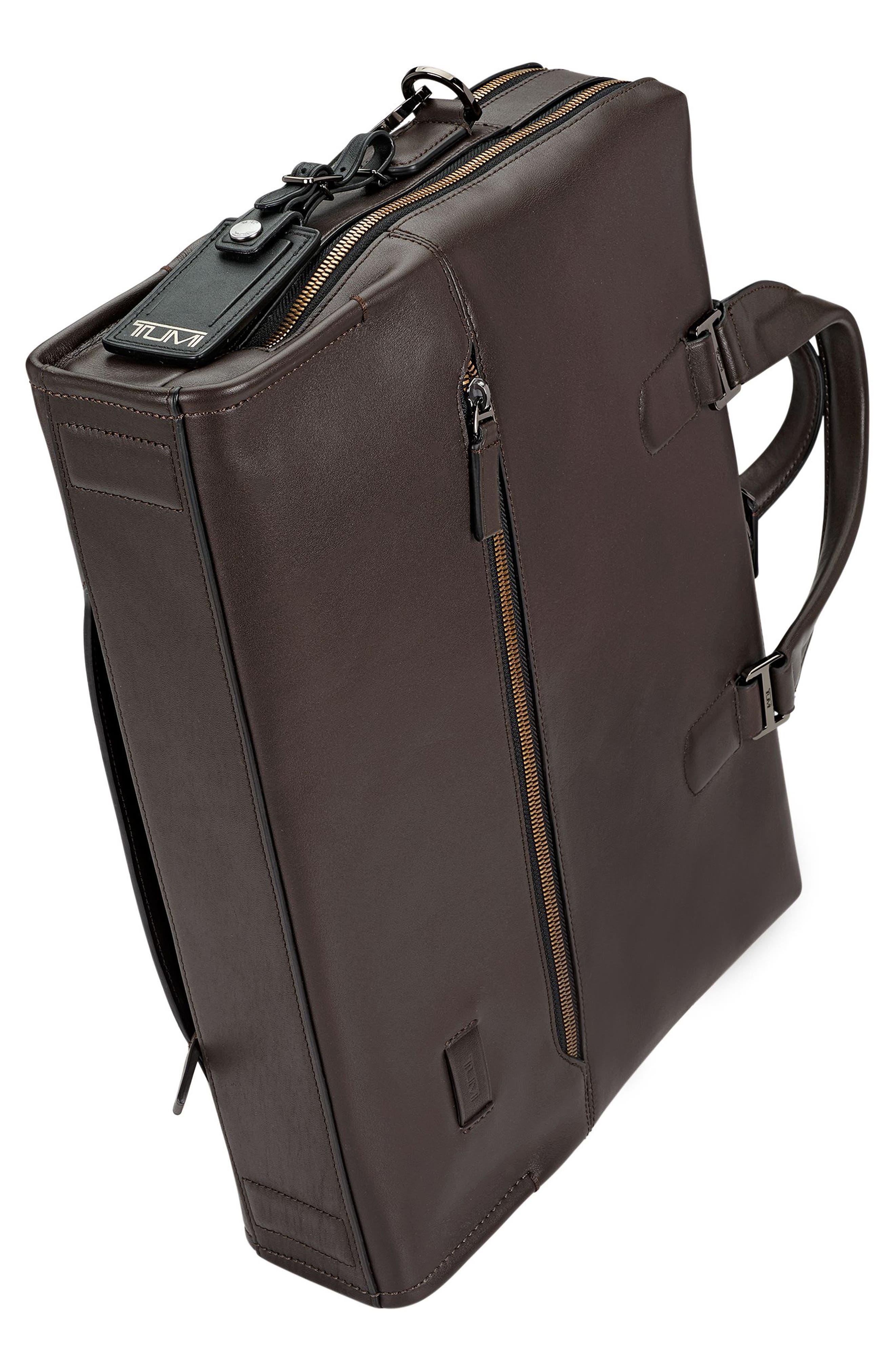 Harrison Horton Double Zip Leather Briefcase,                             Alternate thumbnail 4, color,                             Brown