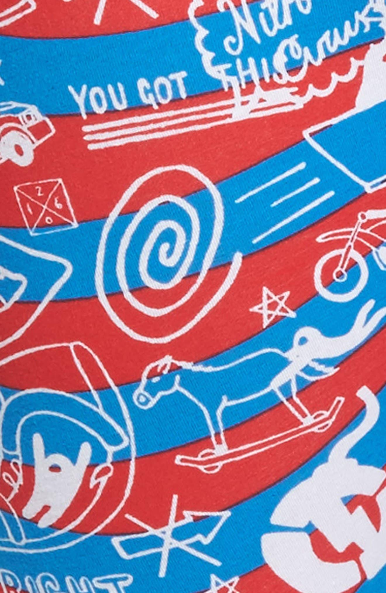 Nitro Doodle Boxer Briefs,                             Alternate thumbnail 4, color,                             Red/ Blue