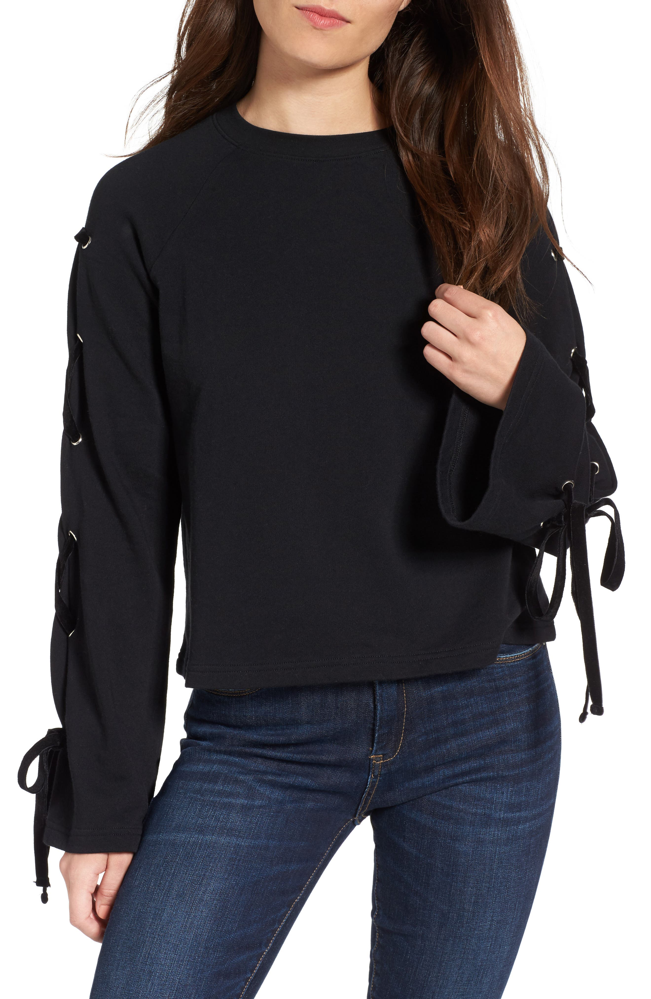 BP. Lace-Up Sleeve Pullover