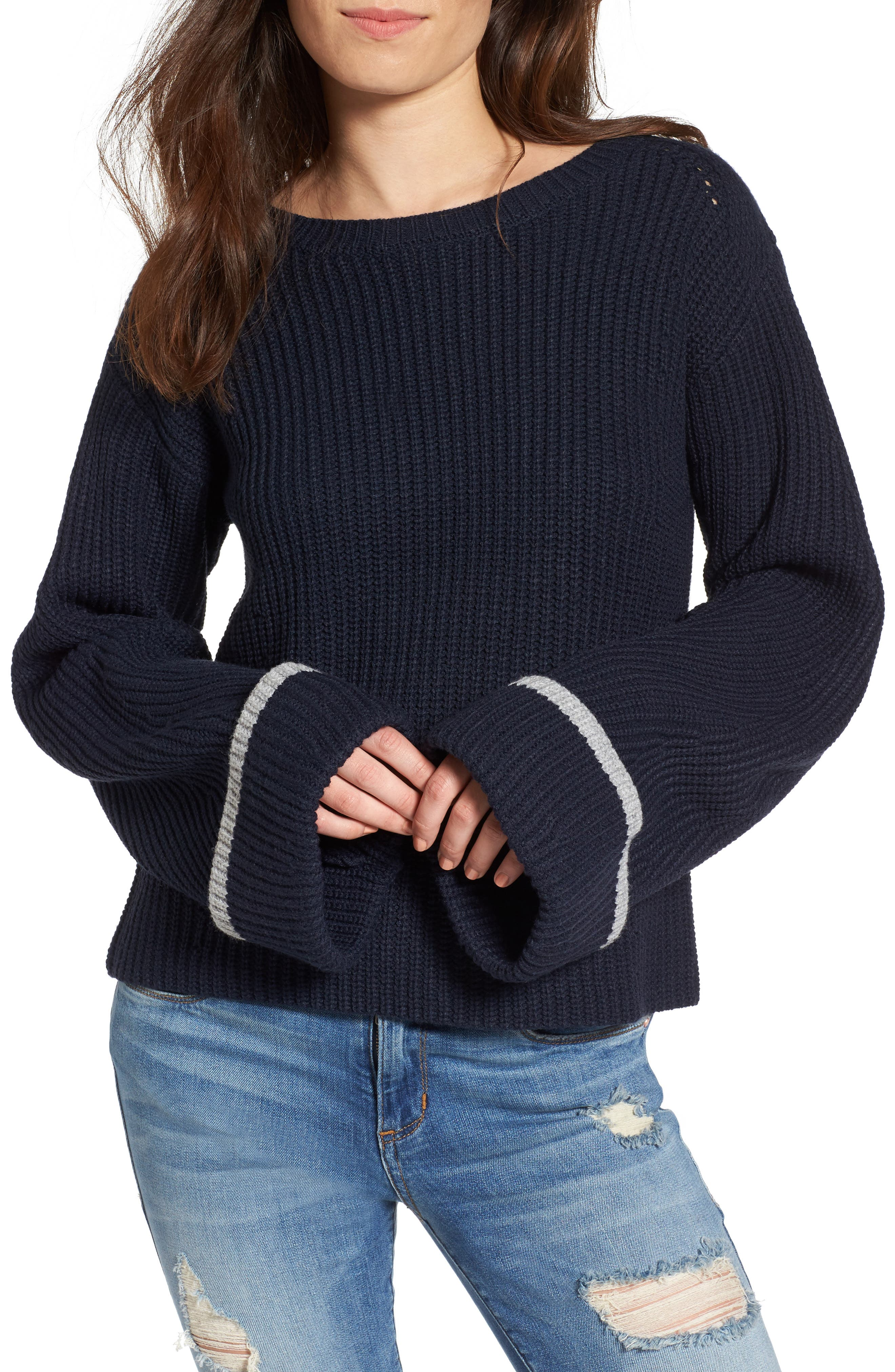 Colorblock Bell Sleeve Sweater,                         Main,                         color, Navy/ Grey