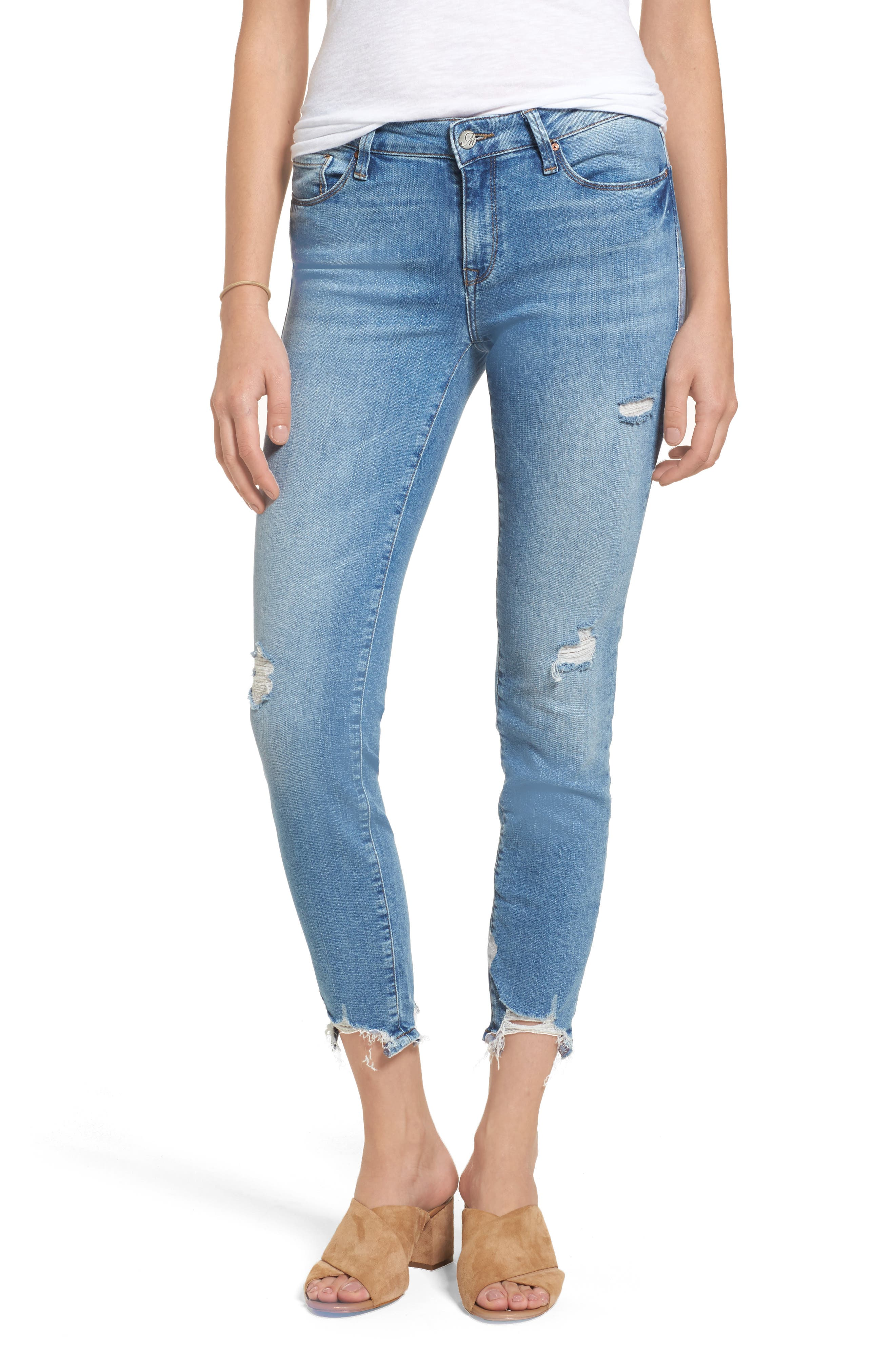 Mavi Jeans Adriana Ripped Skinny Crop Jeans (Light Destructed Vintage)